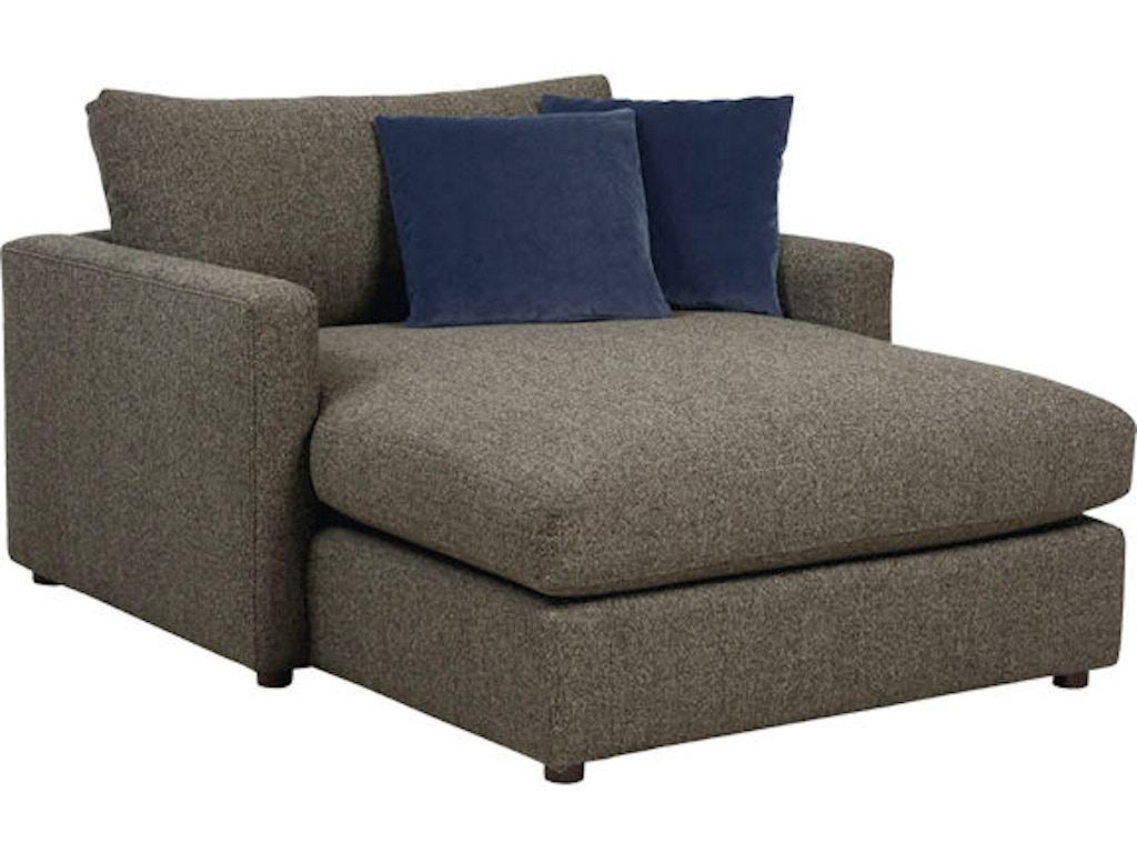 Bassett living room two arm chaise 2611 cl kiser for Bassett sectional sofa with chaise