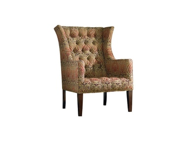Sherrill Wing Chair W/Nail Trim & Exposed Wood Legs 1423-1
