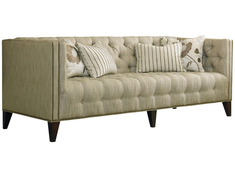 Sherrill Furniture Living Room Tufted Sofa With Nail Trim