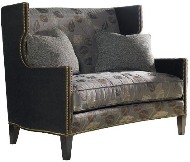 Sherrill Living Room e Cushion Settee With Nail Trim