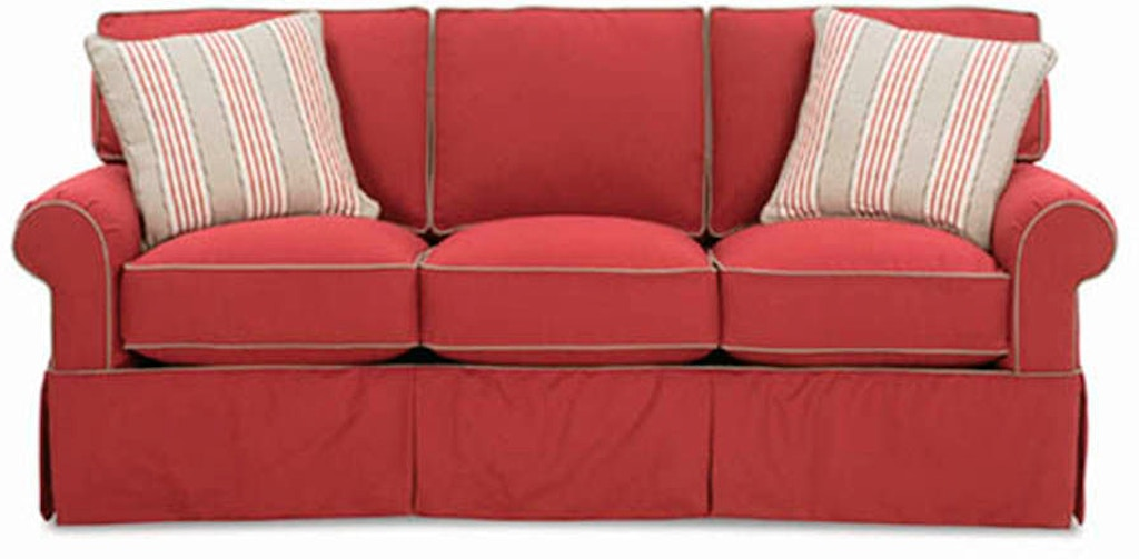Shown With Contrast Welt Visual Interest Is Added While 2 Throw Pillows Complete The Look Hermitage Three Cushion Sofa 7880 Rowe