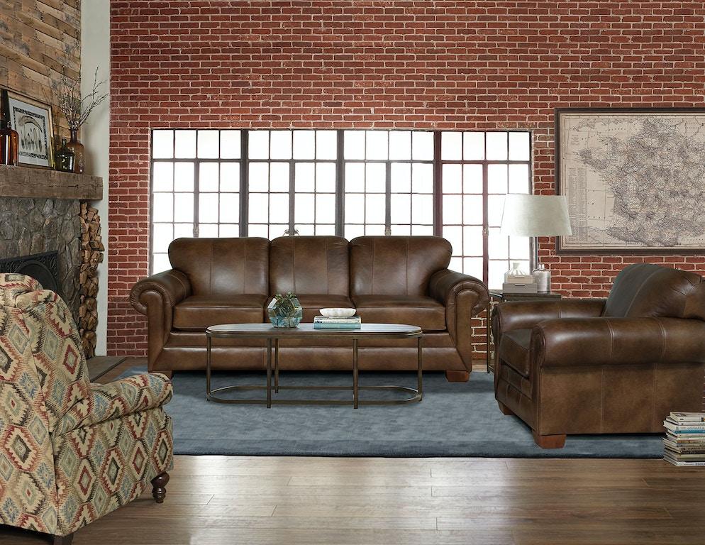 England Living Room Monroe Leather Sofa 1435ls Noble