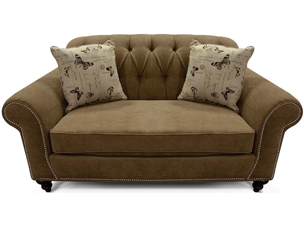 England Living Room Stacy Loveseat With Nails 5736n Woodcrafters Furniture Murray Ky