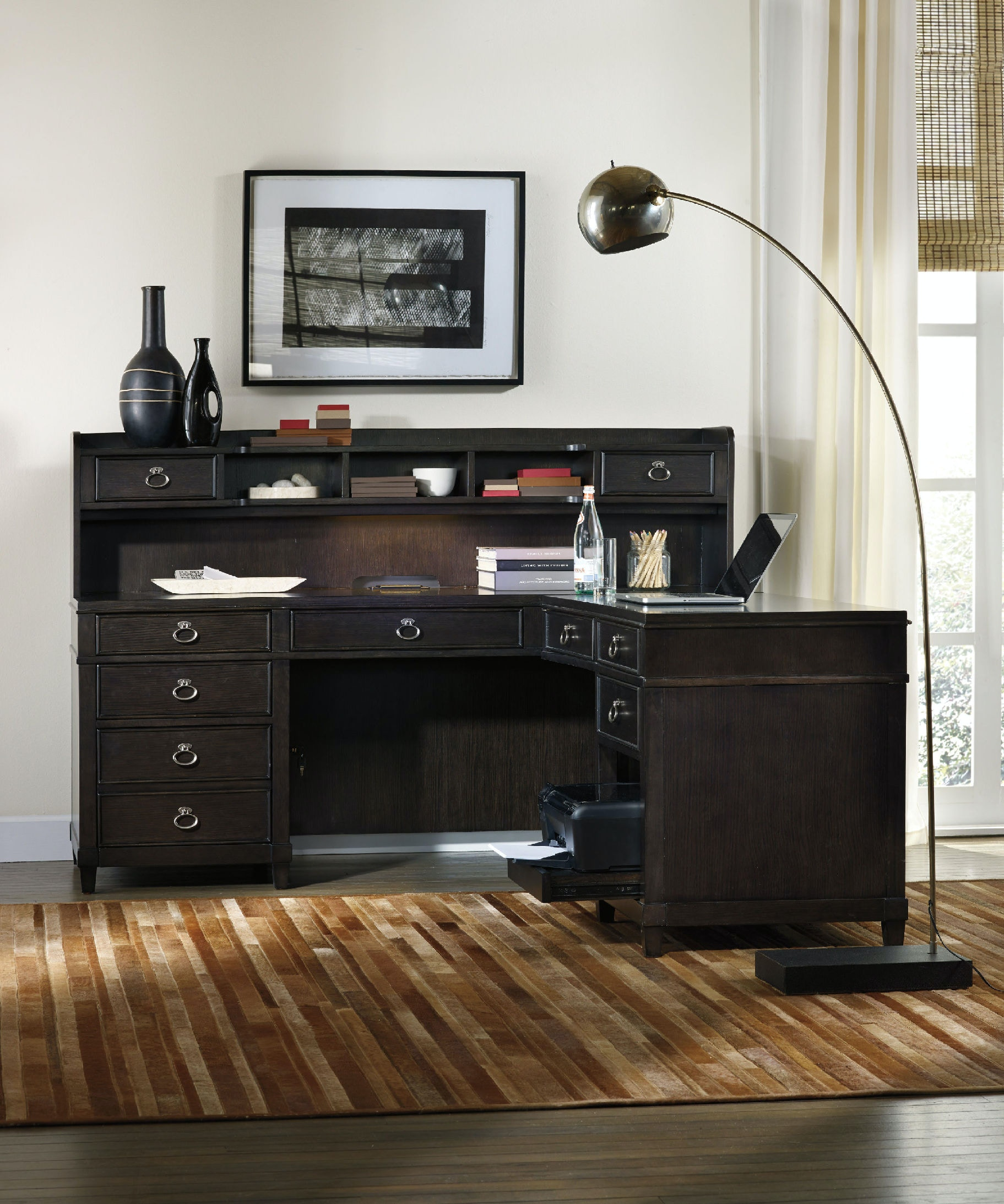 hutch b shaped return by wolf computer shape desk and products furniture with l aspenhome