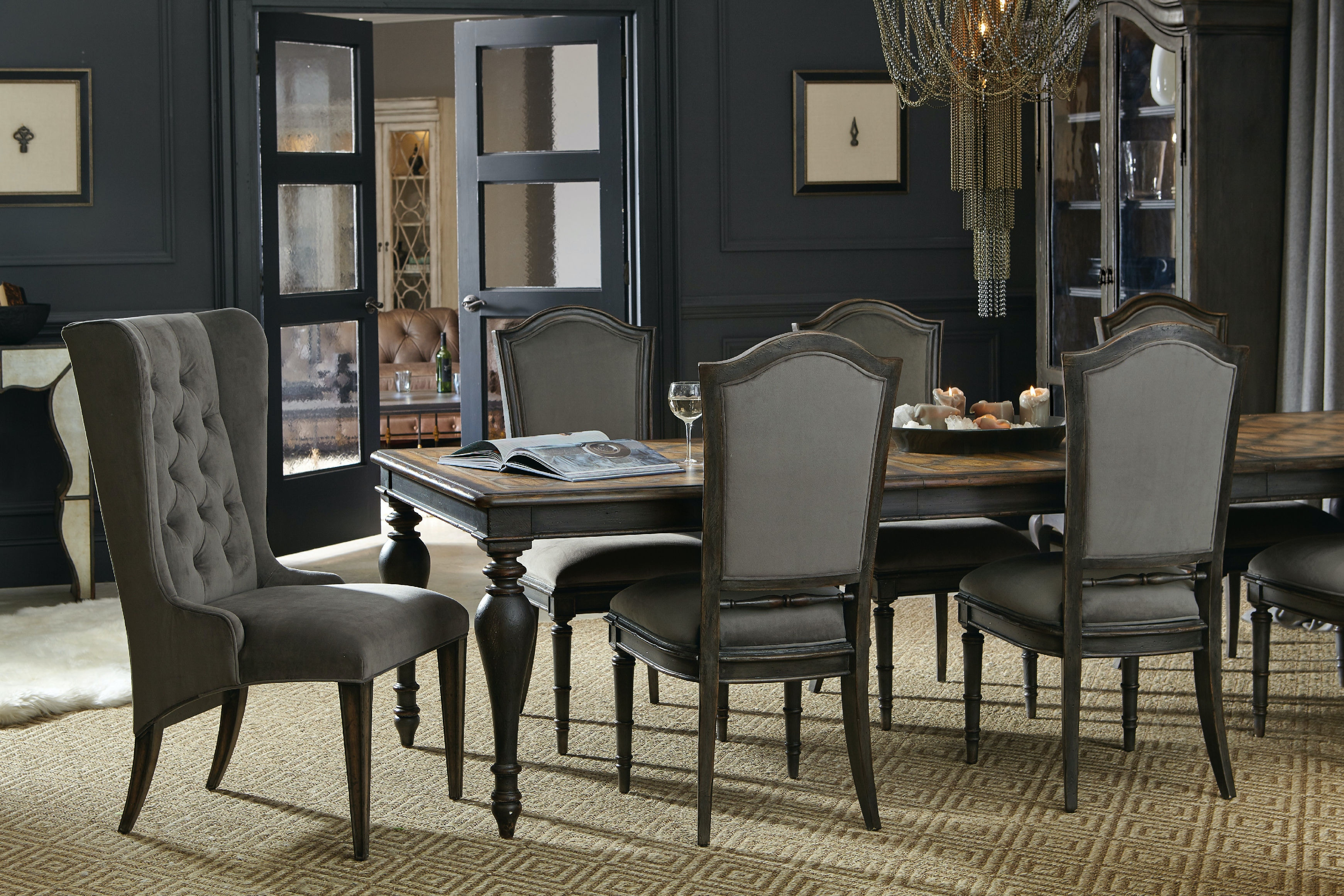 hooker furniture dining room arabella rectangle leg table w 2 20 in leaves 1610 75207 multi. Black Bedroom Furniture Sets. Home Design Ideas