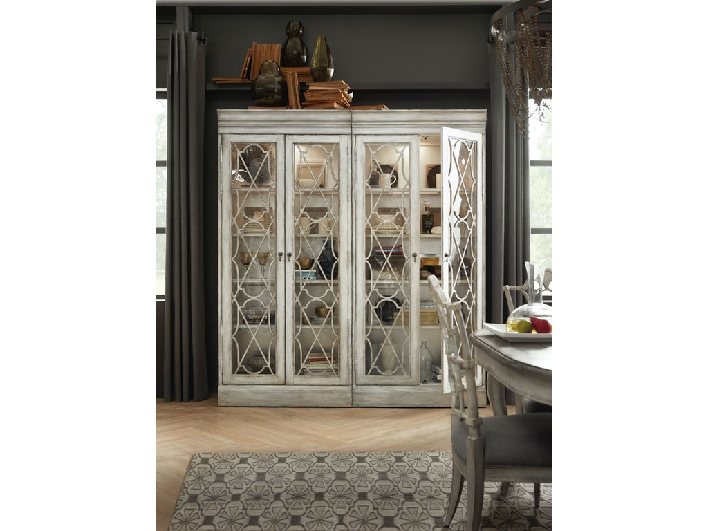 Hooker Furniture Dining Room Arabella Bunching Display Cabinet 1610 75906 Wh Whitley Furniture