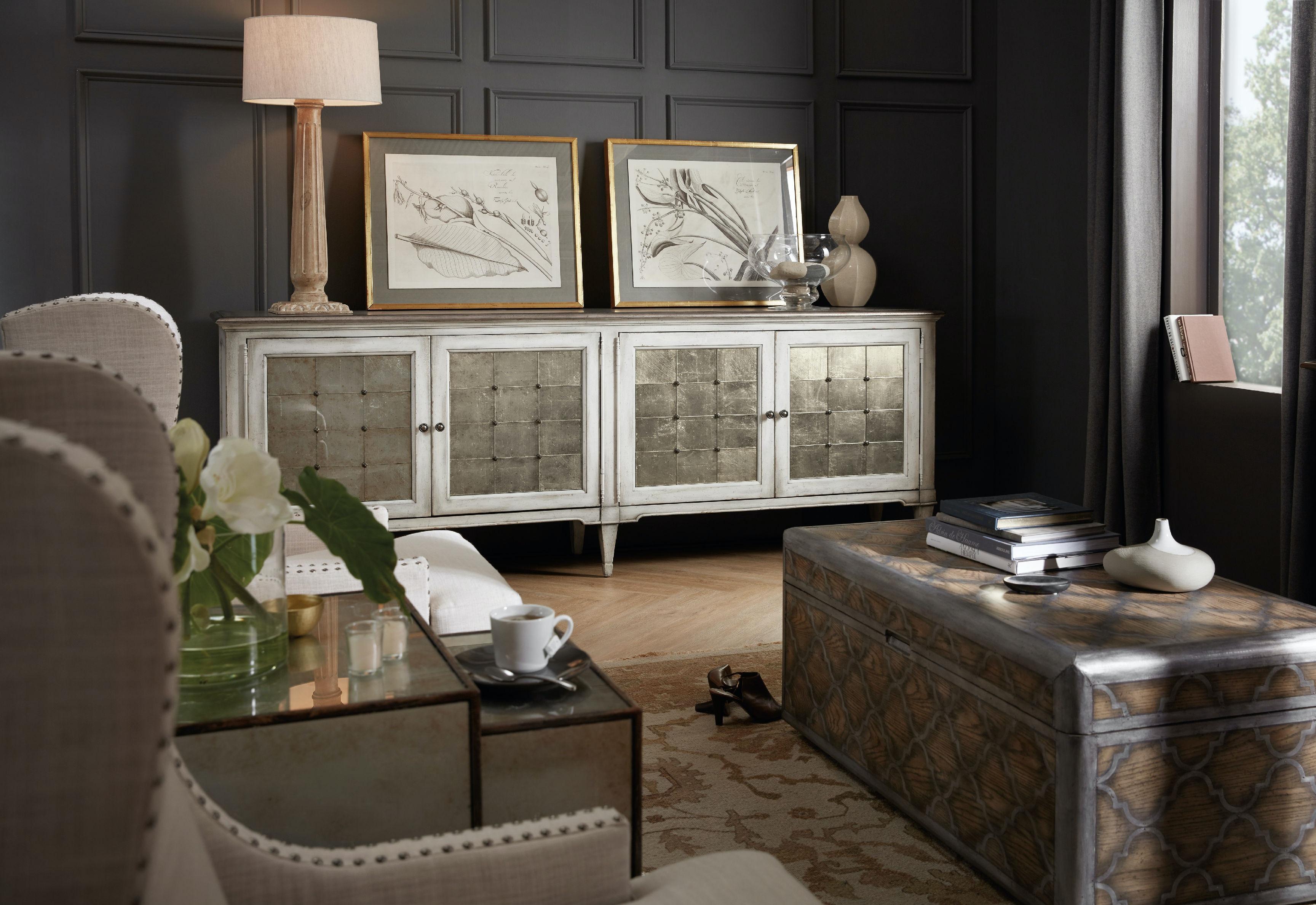 hooker furniture living room arabella four door credenza 1610 85006 wh. Black Bedroom Furniture Sets. Home Design Ideas