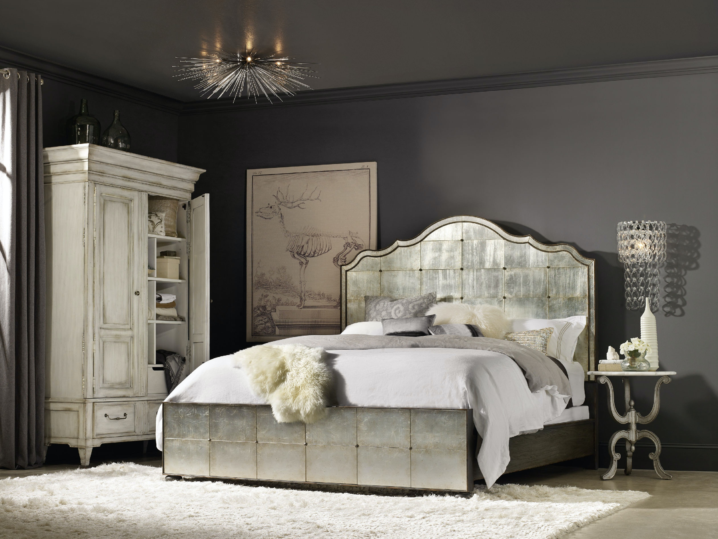 Hooker furniture bedroom arabella king mirrored panel bed for Hooker bedroom furniture