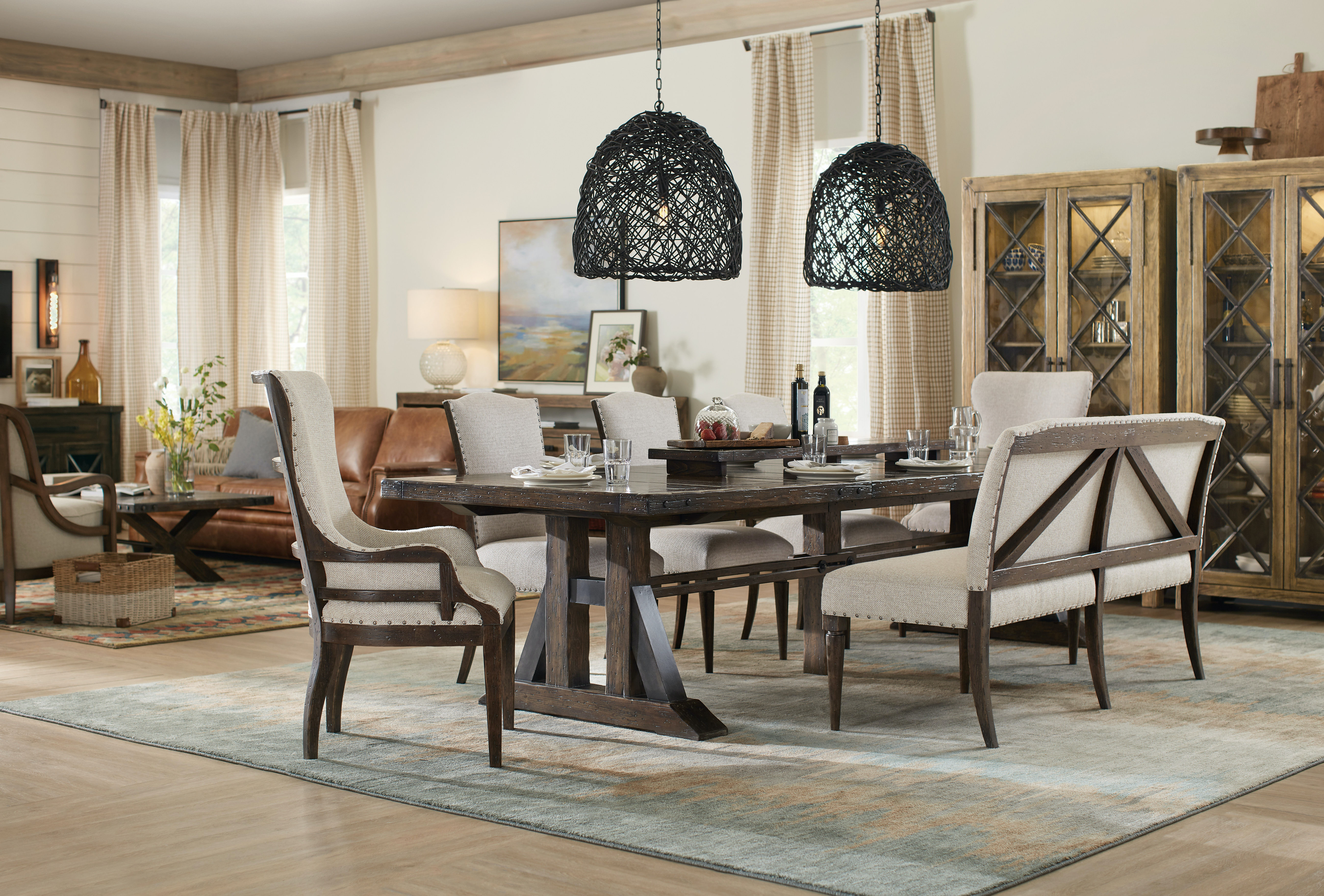 Hooker Furniture Dining Room Roslyn County Trestle Dining Table w ...