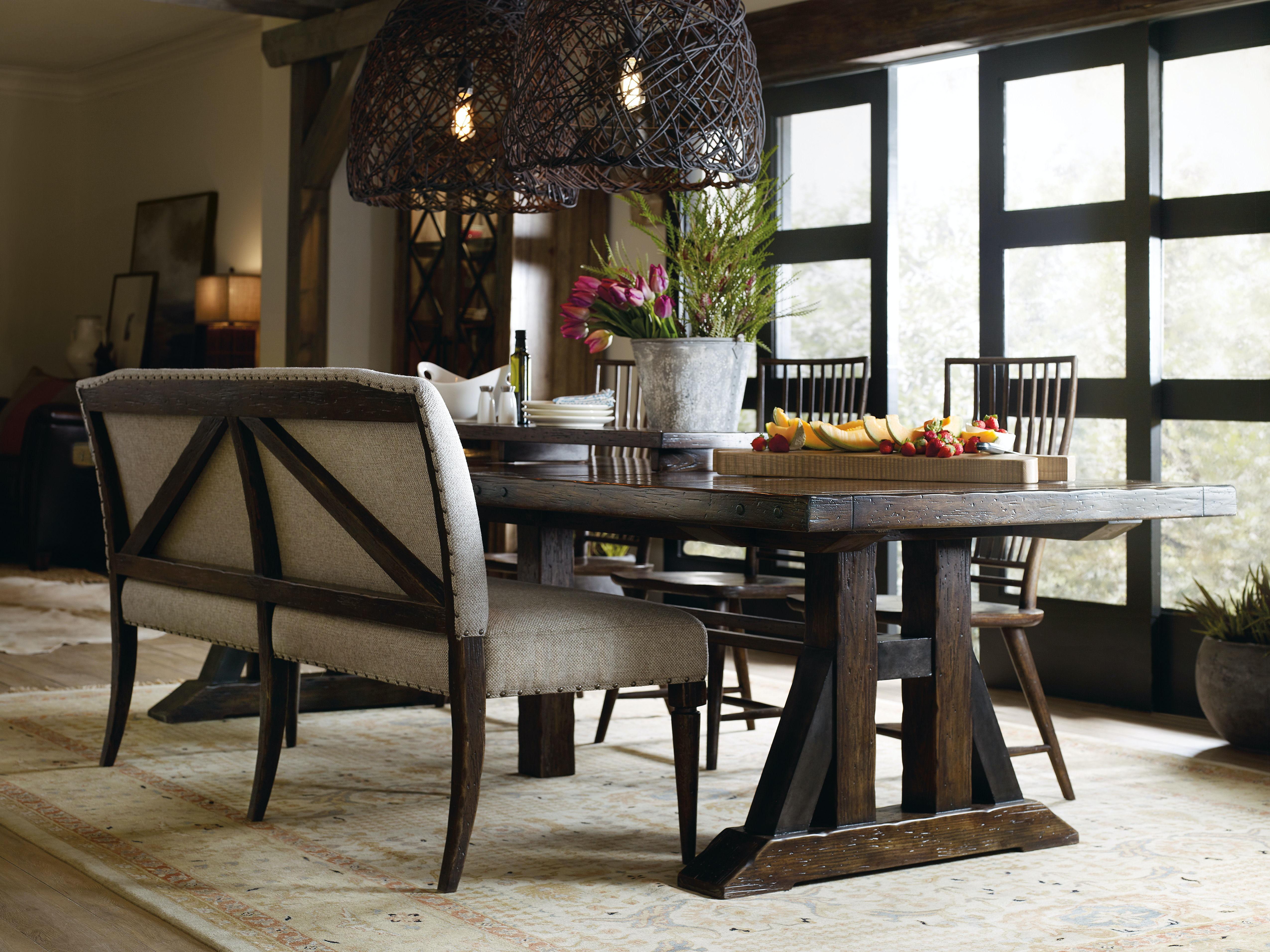 Hooker Furniture Roslyn County Upholstered Dining Bench 1618 75019 DKW