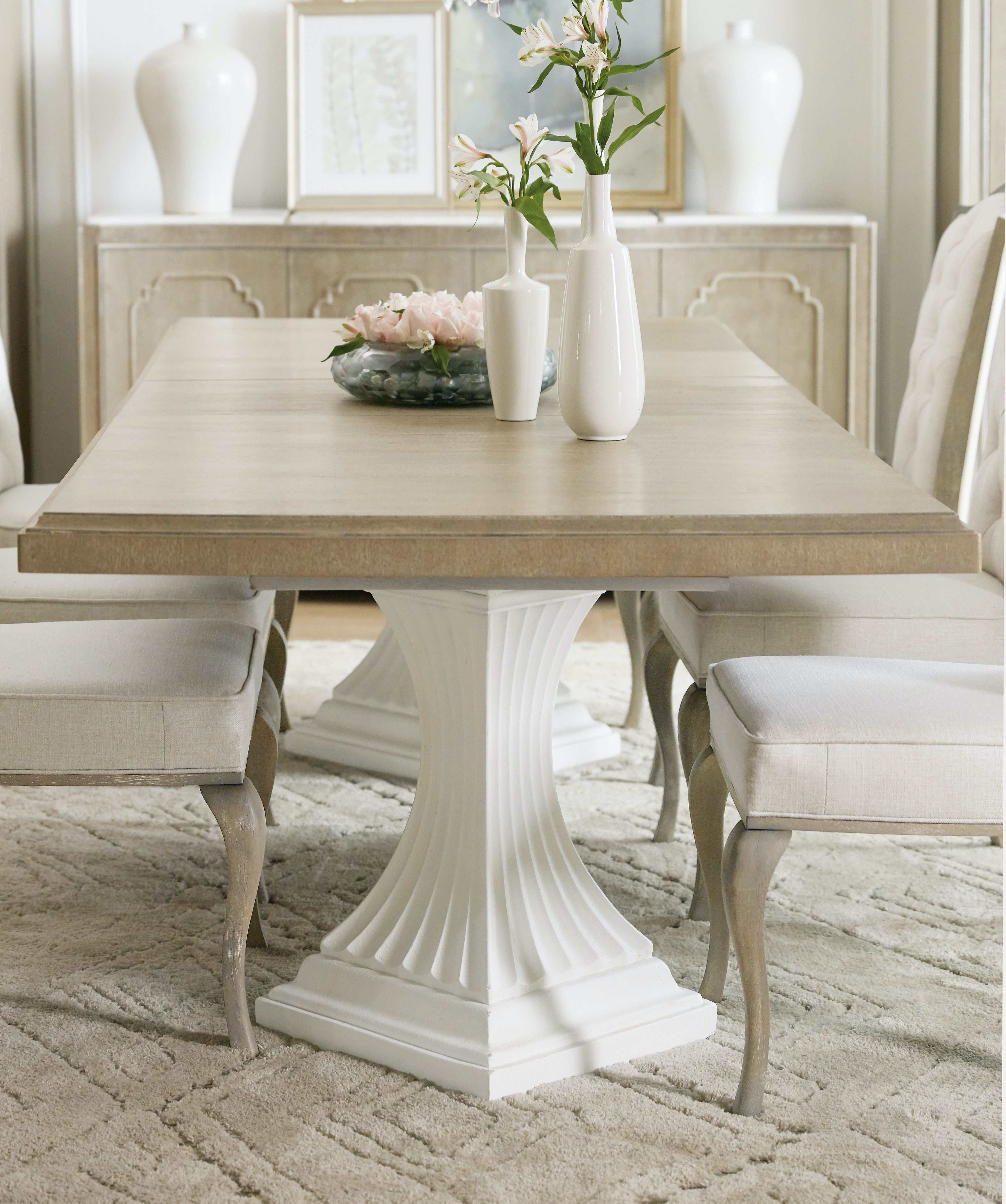 Hooker Furniture Dining Room Modern Romance Double Pedestal Dining - Modern double pedestal dining table