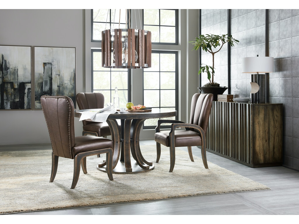 hooker furniture dining room crafted 54in round dining table 1654 75203 dkw1 lauters fine. Black Bedroom Furniture Sets. Home Design Ideas