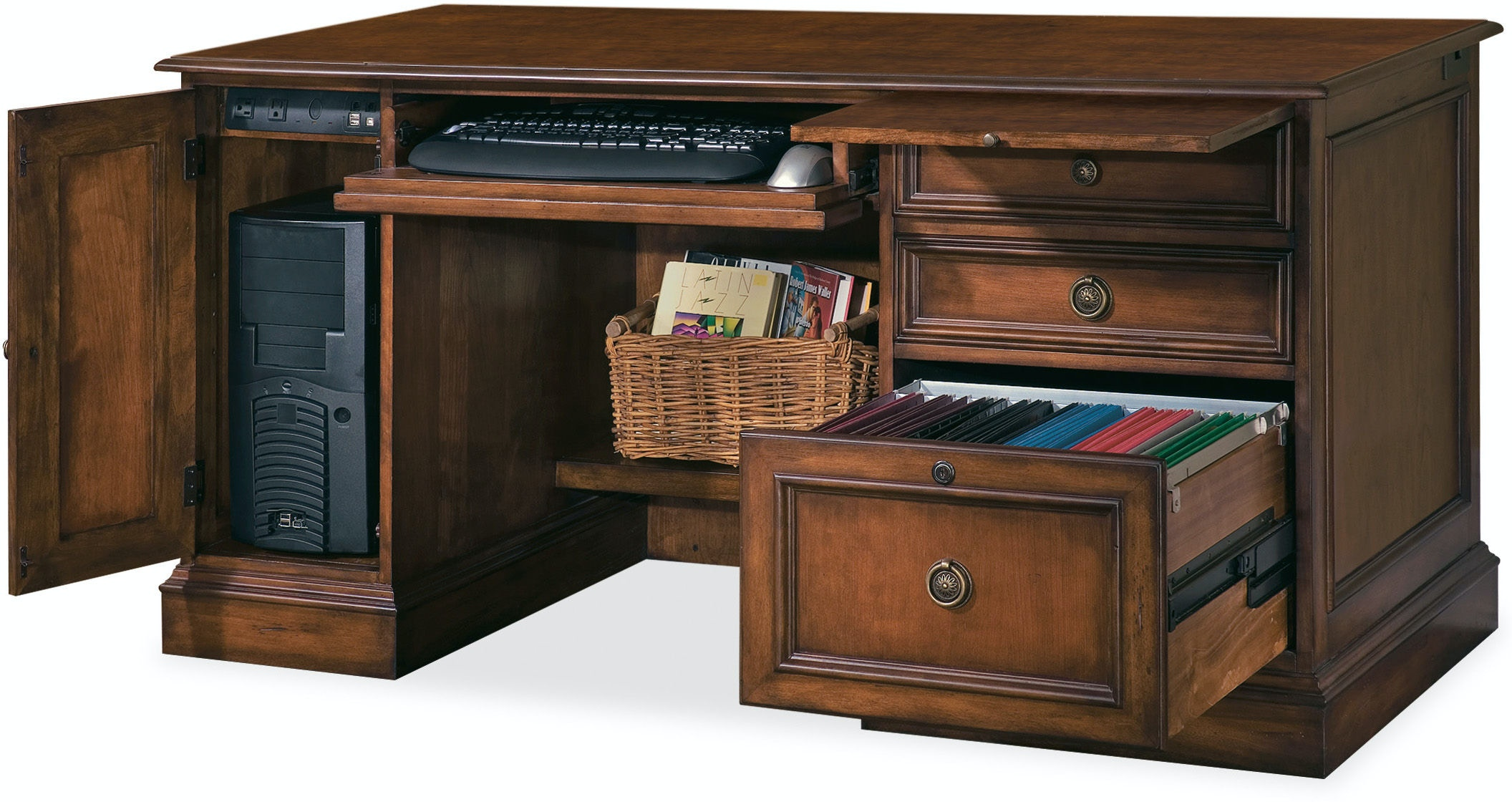 locking desk double products file with by pedestal hooker drawers furniture kneehole