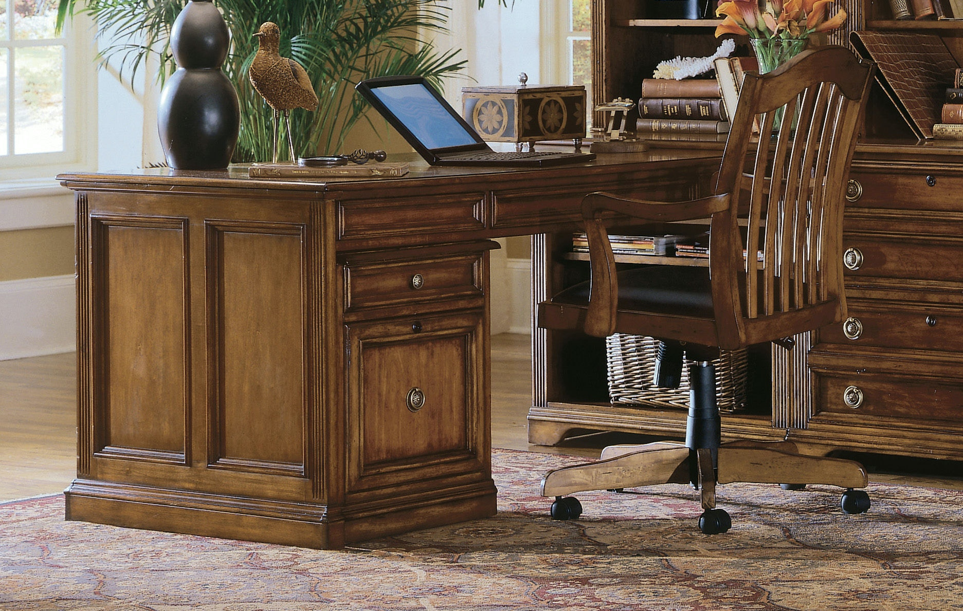 Hooker Furniture Home Office desk chairs bookcases Hooker Furniture Brookhaven Peninsula Desk 281 10 411