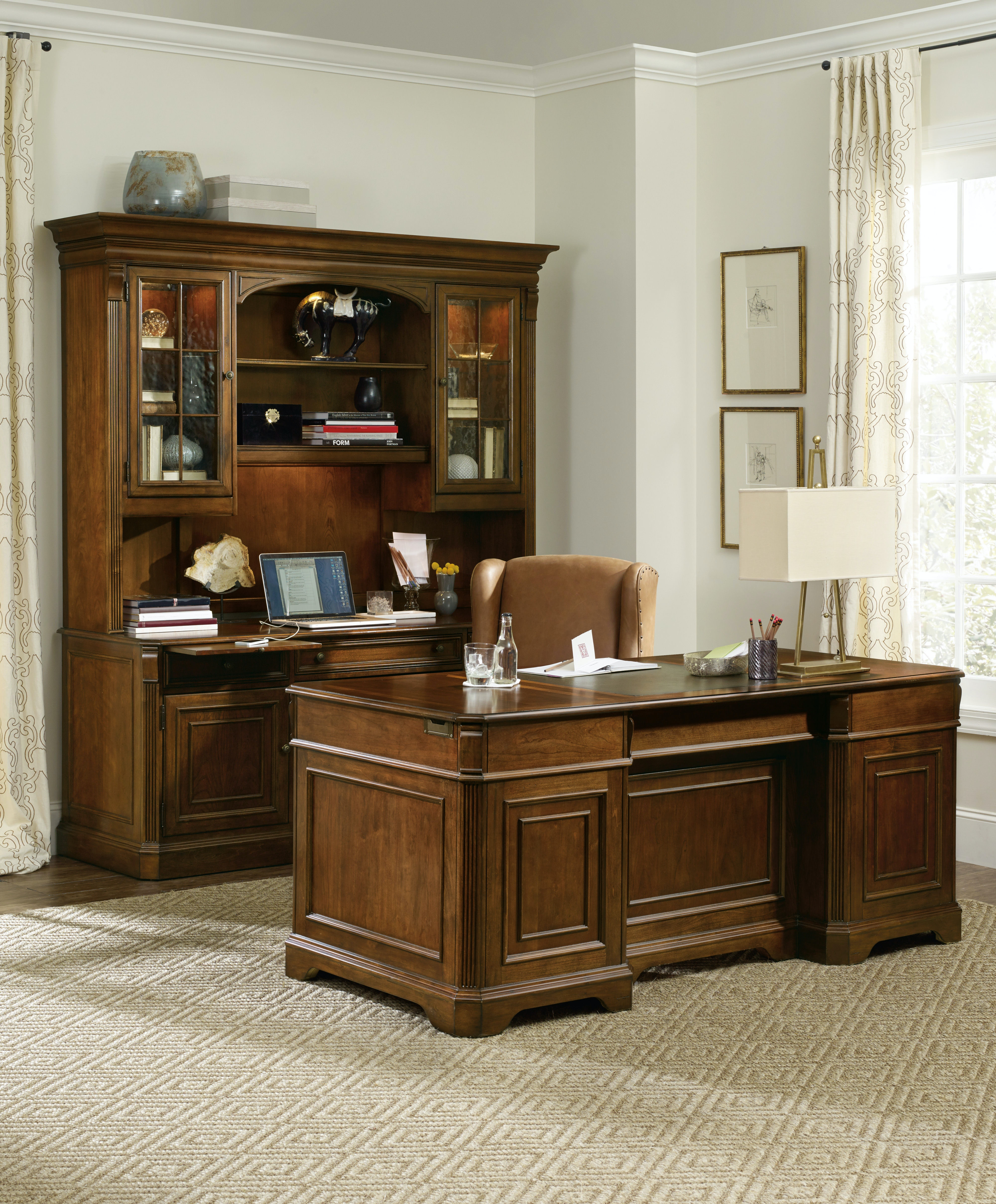 boulevard item executive double furnishings collections hooker home pedestal furniture odp desk telluride desks