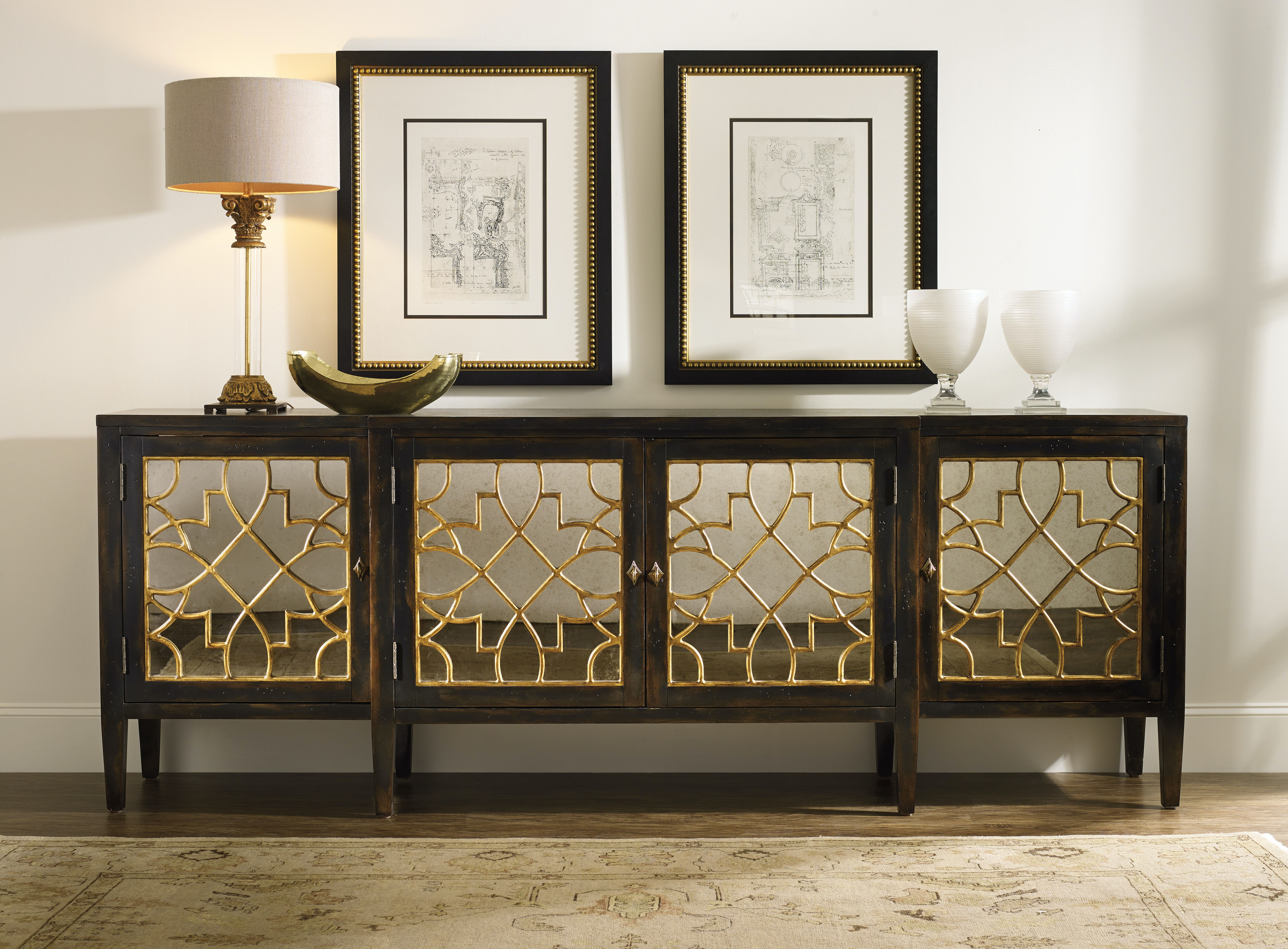 Hooker Furniture Sanctuary Four Door Mirrored Console  Ebony 3005 85005