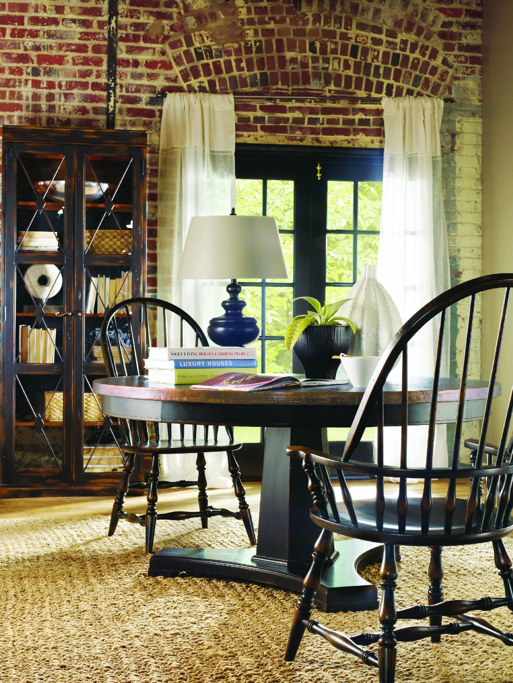 Hooker Furniture Sanctuary 60 In Round Pedestal Dining Table   Ebony U0026  Copper 3005 75203