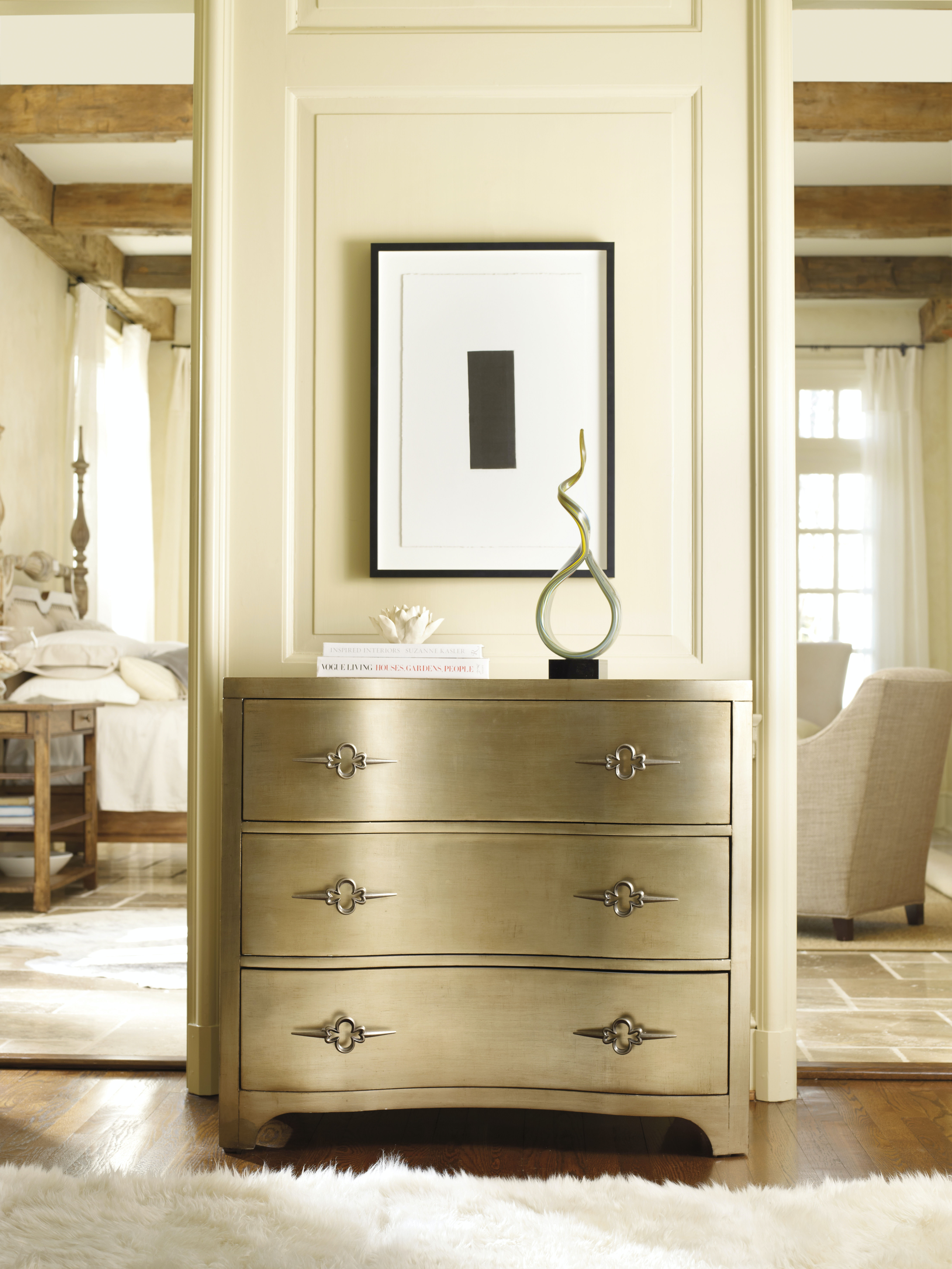 Awesome Hooker Furniture Sanctuary Three Drawer Shaped Front Gold Chest 3008 85004