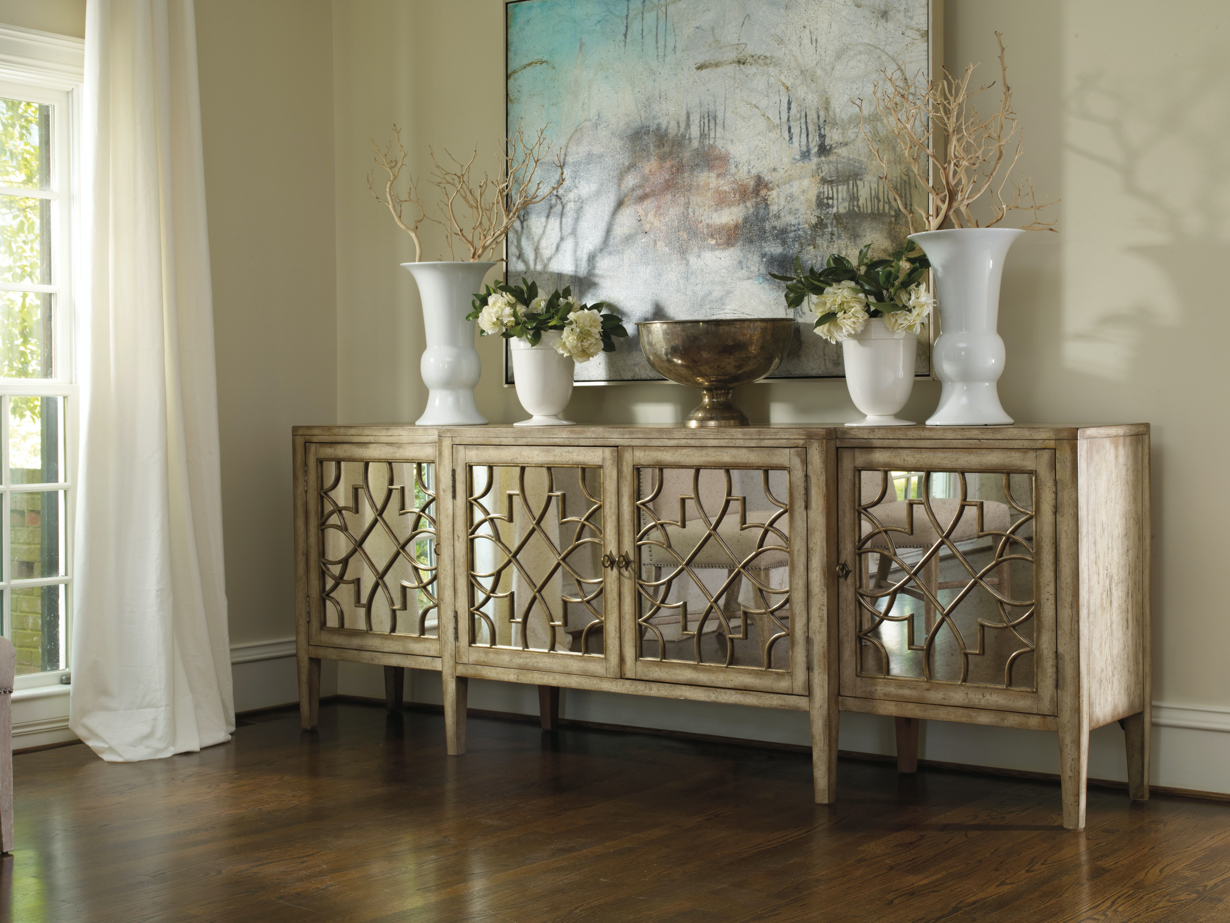 Mirrored Living Room Furniture Hooker Furniture Living Room Sanctuary Four Door Mirrored Console