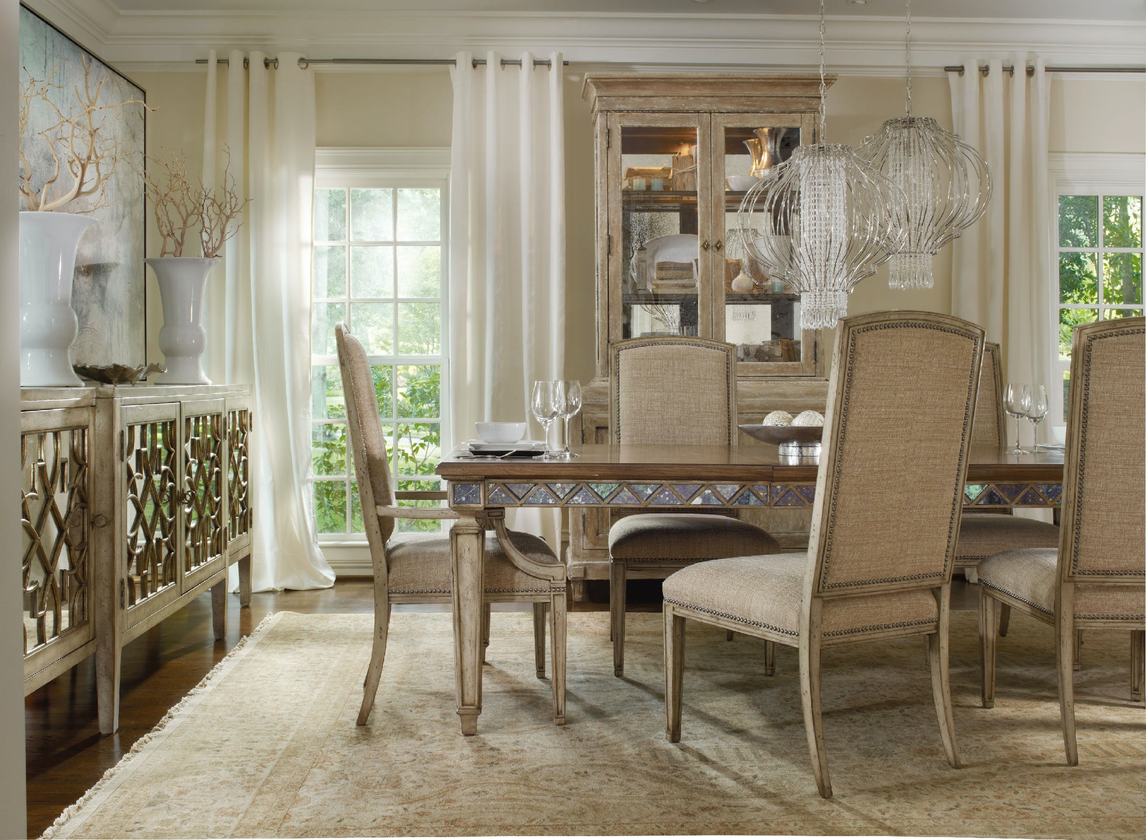 Hooker Furniture Dining Room Sanctuary Four-Door Mirrored Console ...