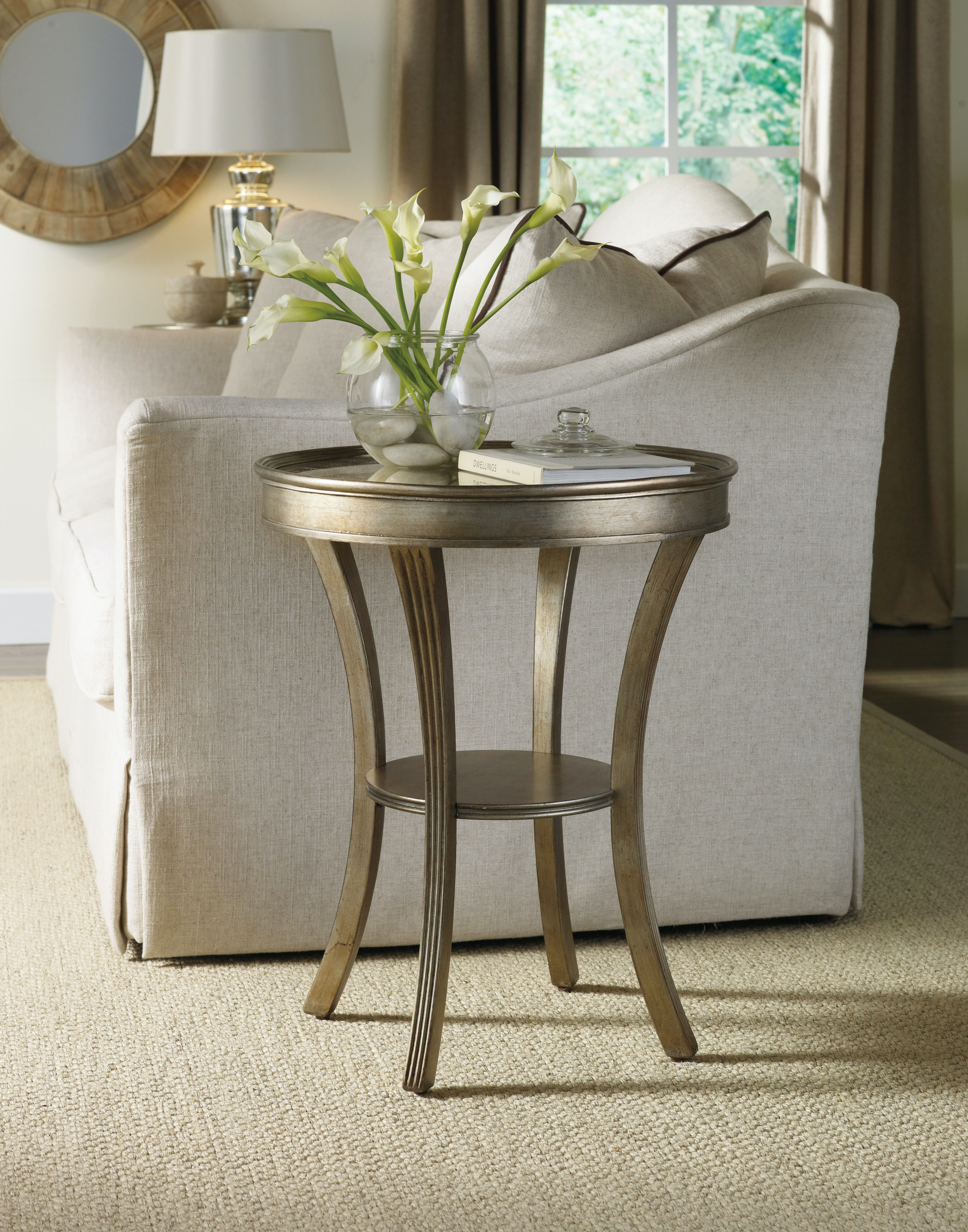 Hooker Furniture Living Room Sanctuary Round Mirrored Accent Table ...