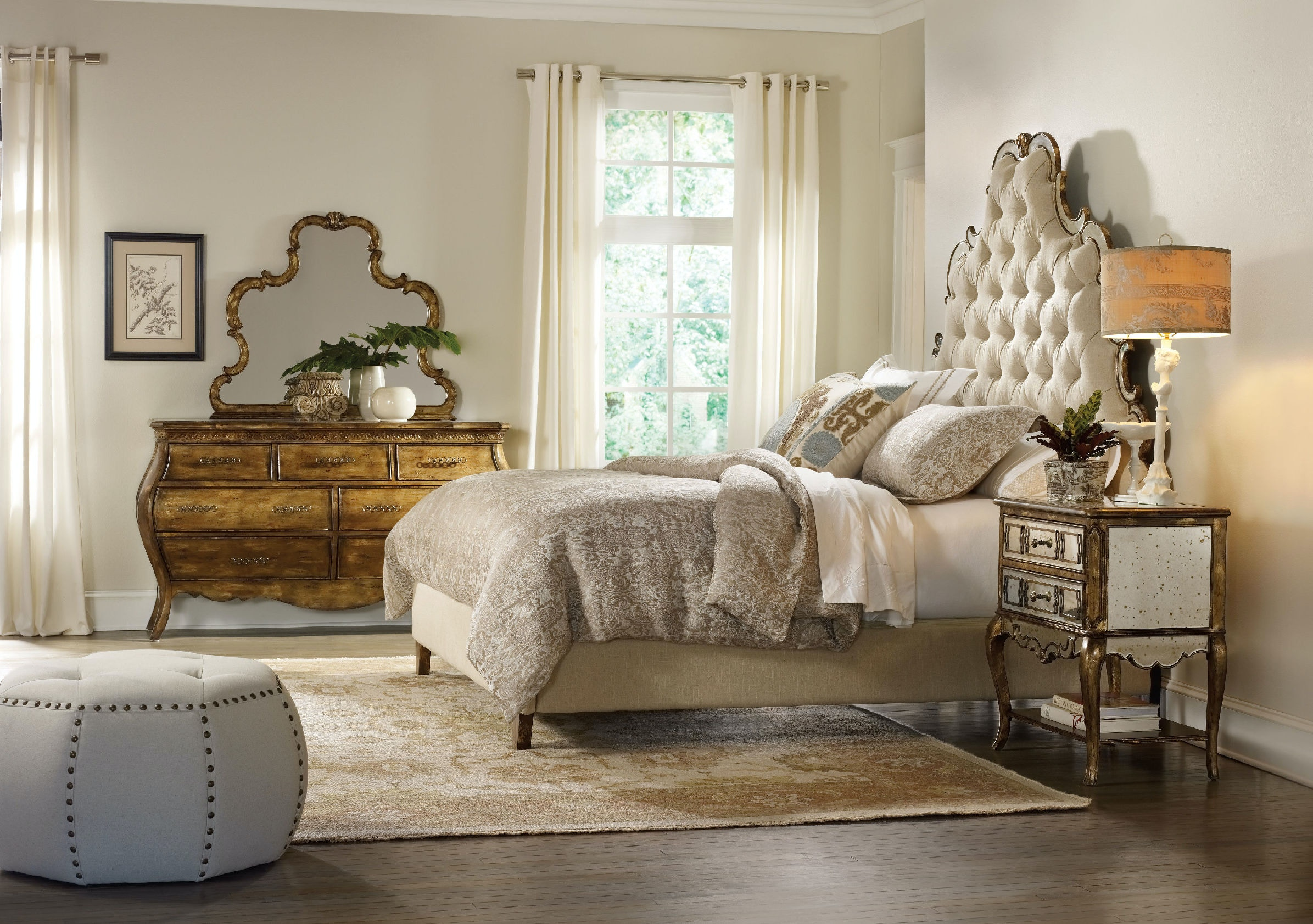 Hooker Furniture Bedroom Sanctuary Queen Tufted Bed - Bling 3016-90850