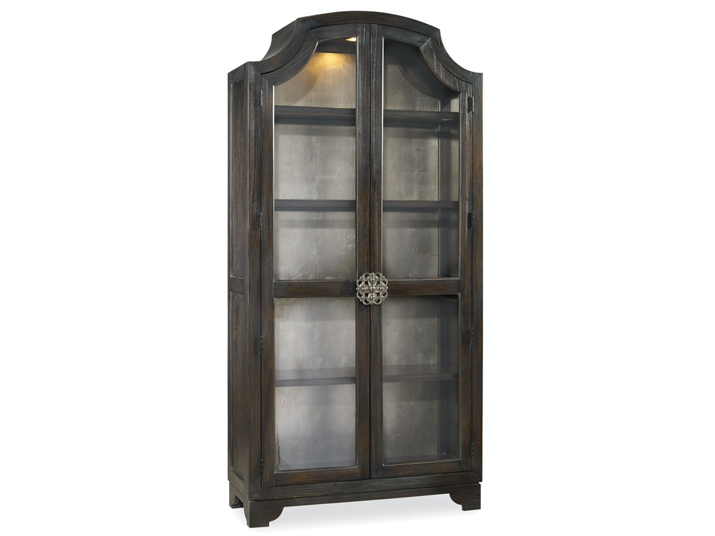 Hooker Furniture Dining Room Sanctuary Glass Bunching Curio Ebony Antiqued Oak 3031 50001