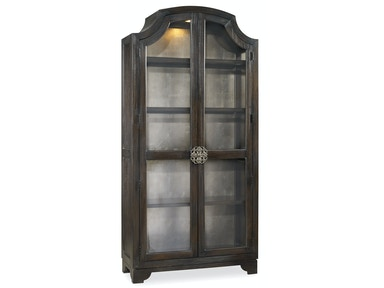Hooker Furniture Sanctuary Glass Bunching Curio-Ebony Antiqued Oak 3031-50001