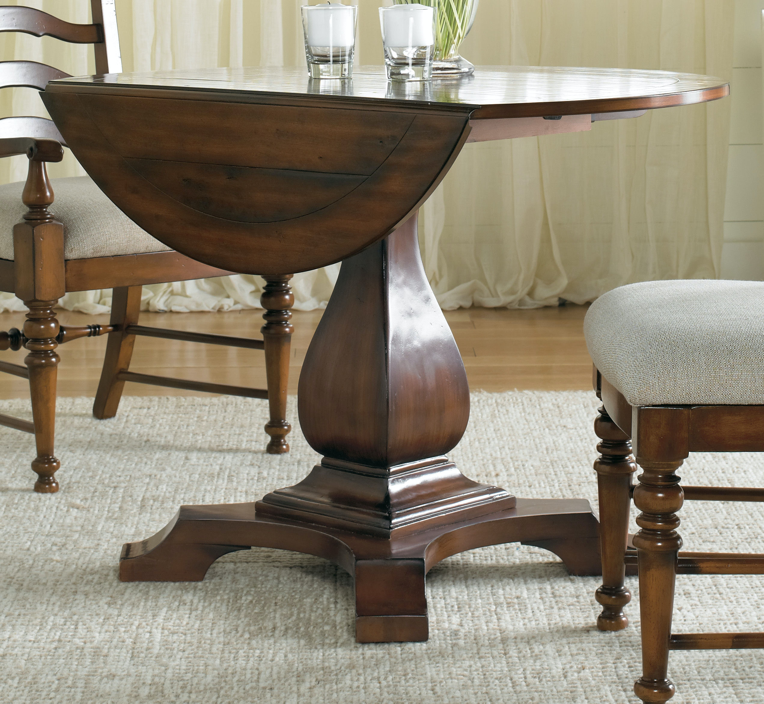 hooker furniture dining room waverly place round drop leaf pedestal table 366 75 218. Black Bedroom Furniture Sets. Home Design Ideas