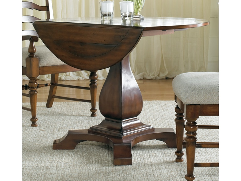 hooker furniture waverly place round drop leaf pedestal table 366 75 218 - Pedestal Dining Room Table With Leaf