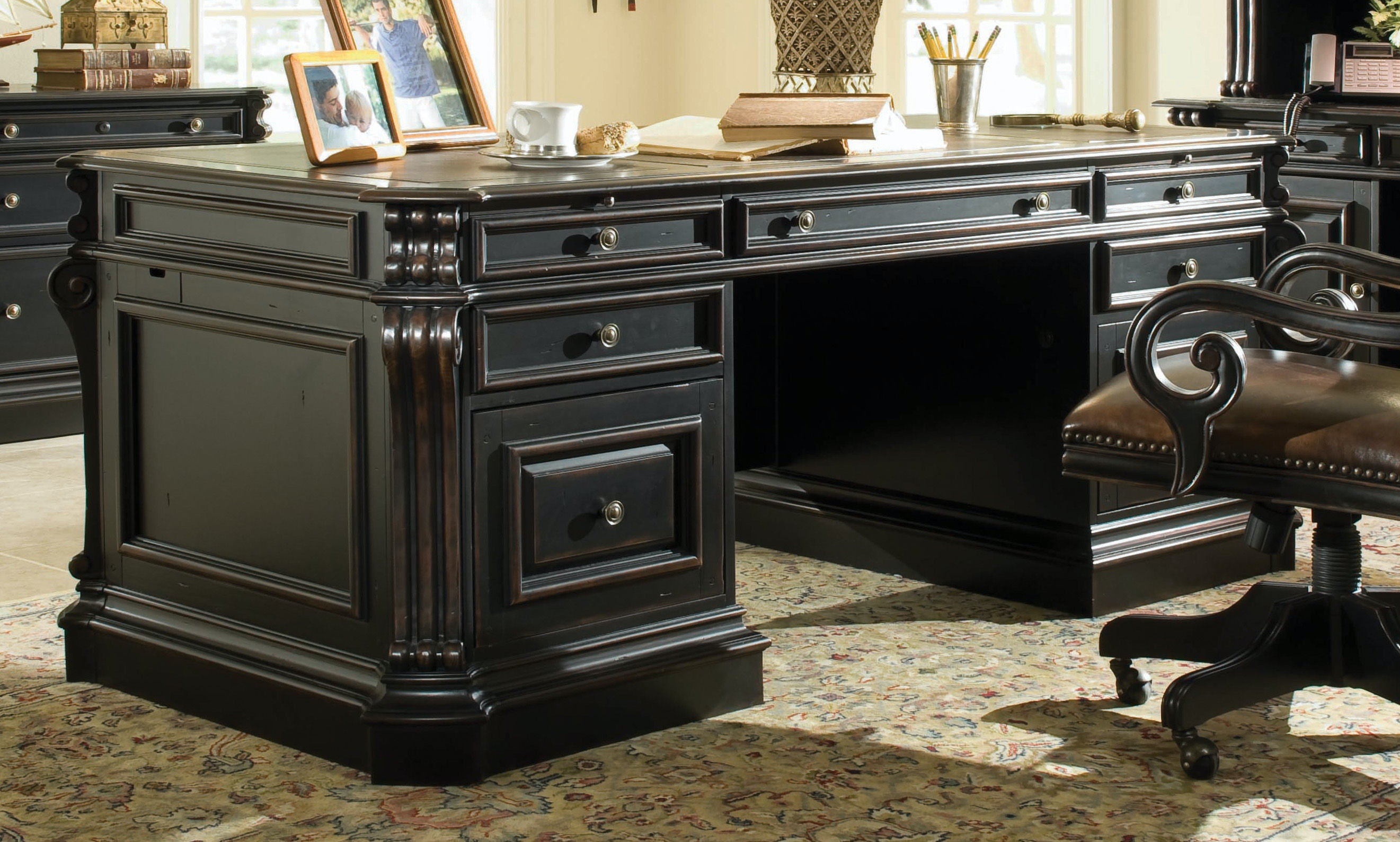 """Warm Cherry Executive Desk Home Office Collection: Hooker Furniture Home Office Telluride 76"""" Executive Desk"""