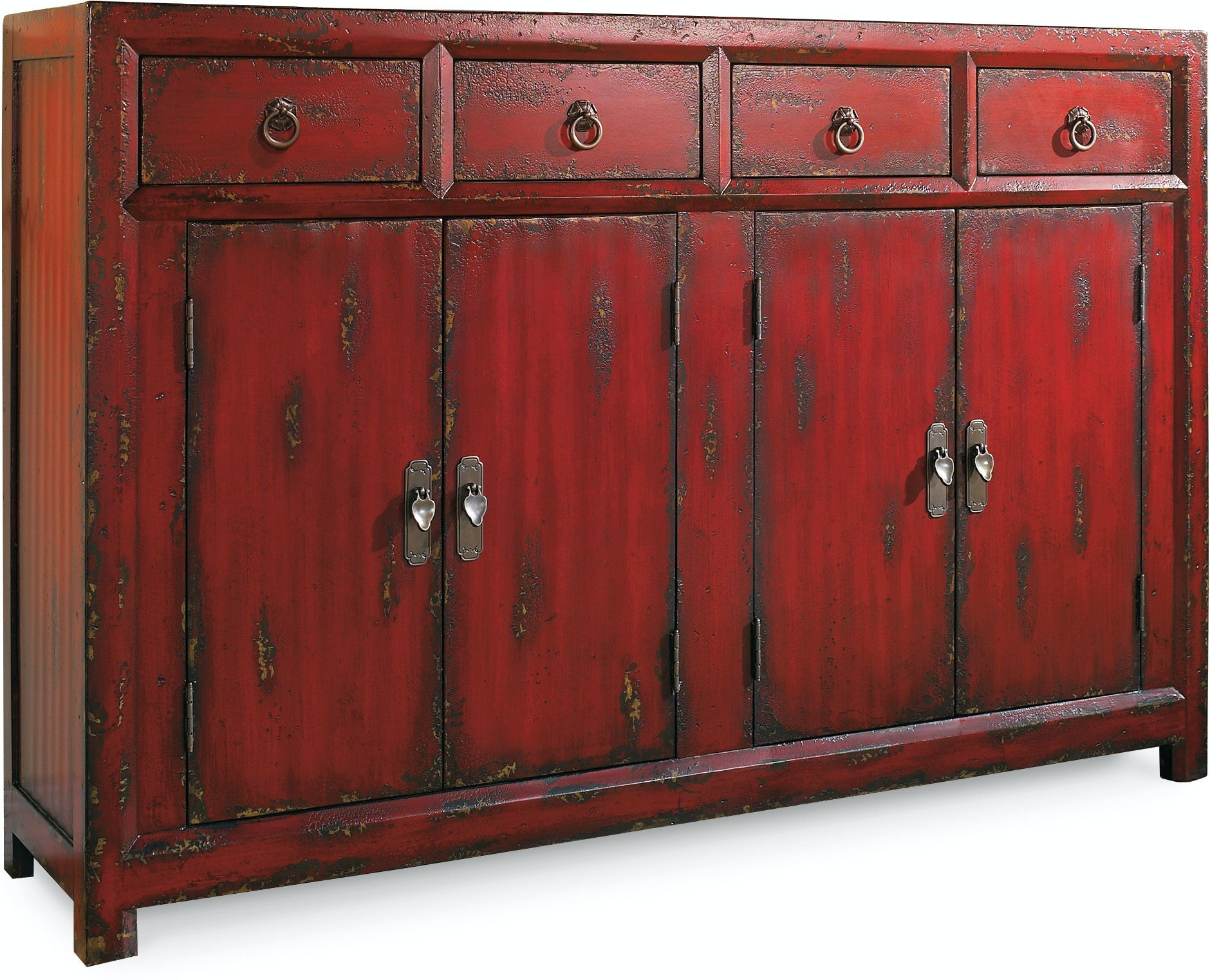 Hooker Furniture Living Room 58\'\' Red Asian Cabinet 500-50-711