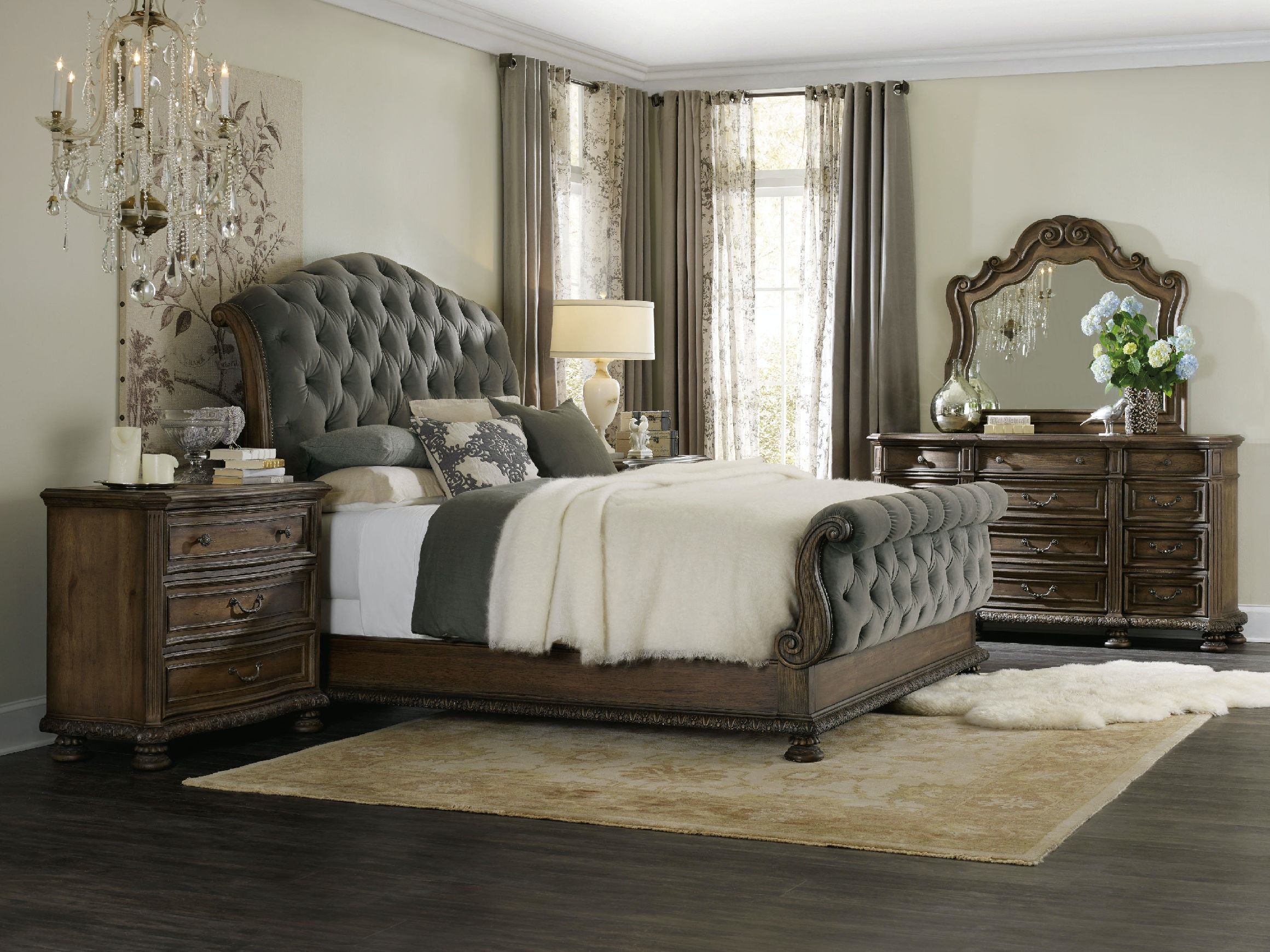 Hooker Furniture Bedroom Rhapsody King Tufted Bed 5070-90566A-GRY
