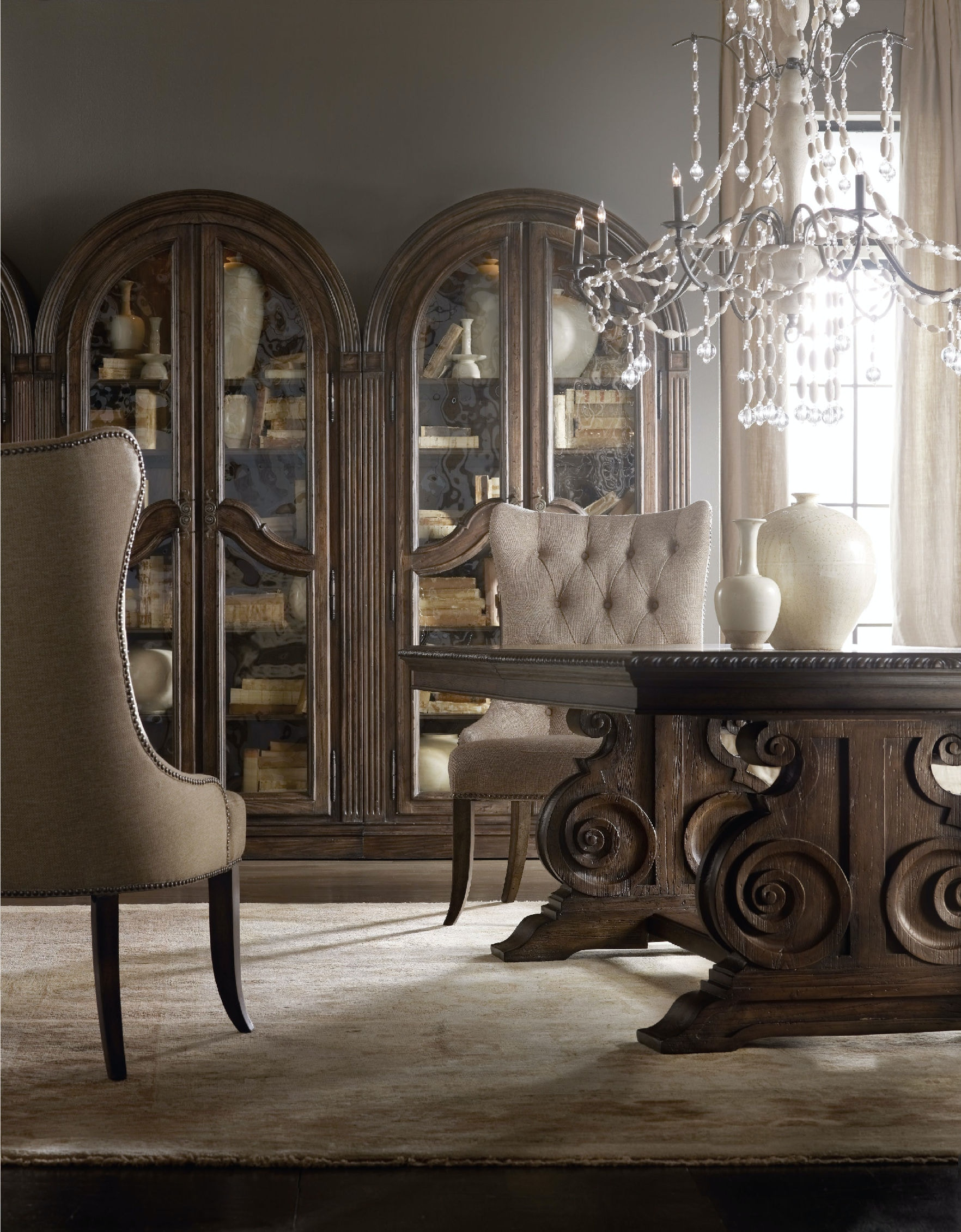 hooker furniture dining room rhapsody tufted dining chair  - hooker furniture rhapsody tufted dining chair