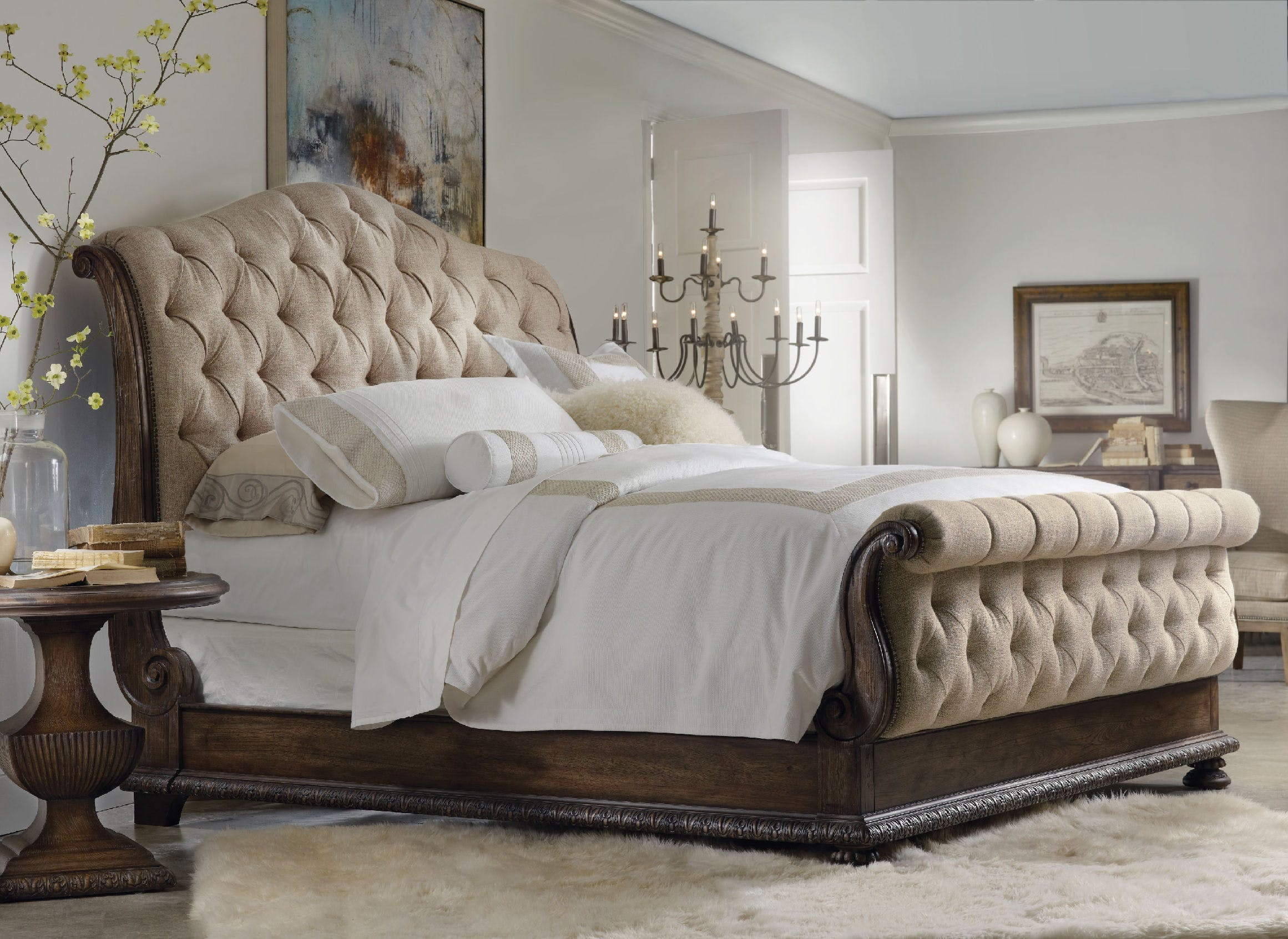 tufted bedroom furniture. Hooker Furniture Rhapsody Queen Tufted Bed 5070-90550 Bedroom A
