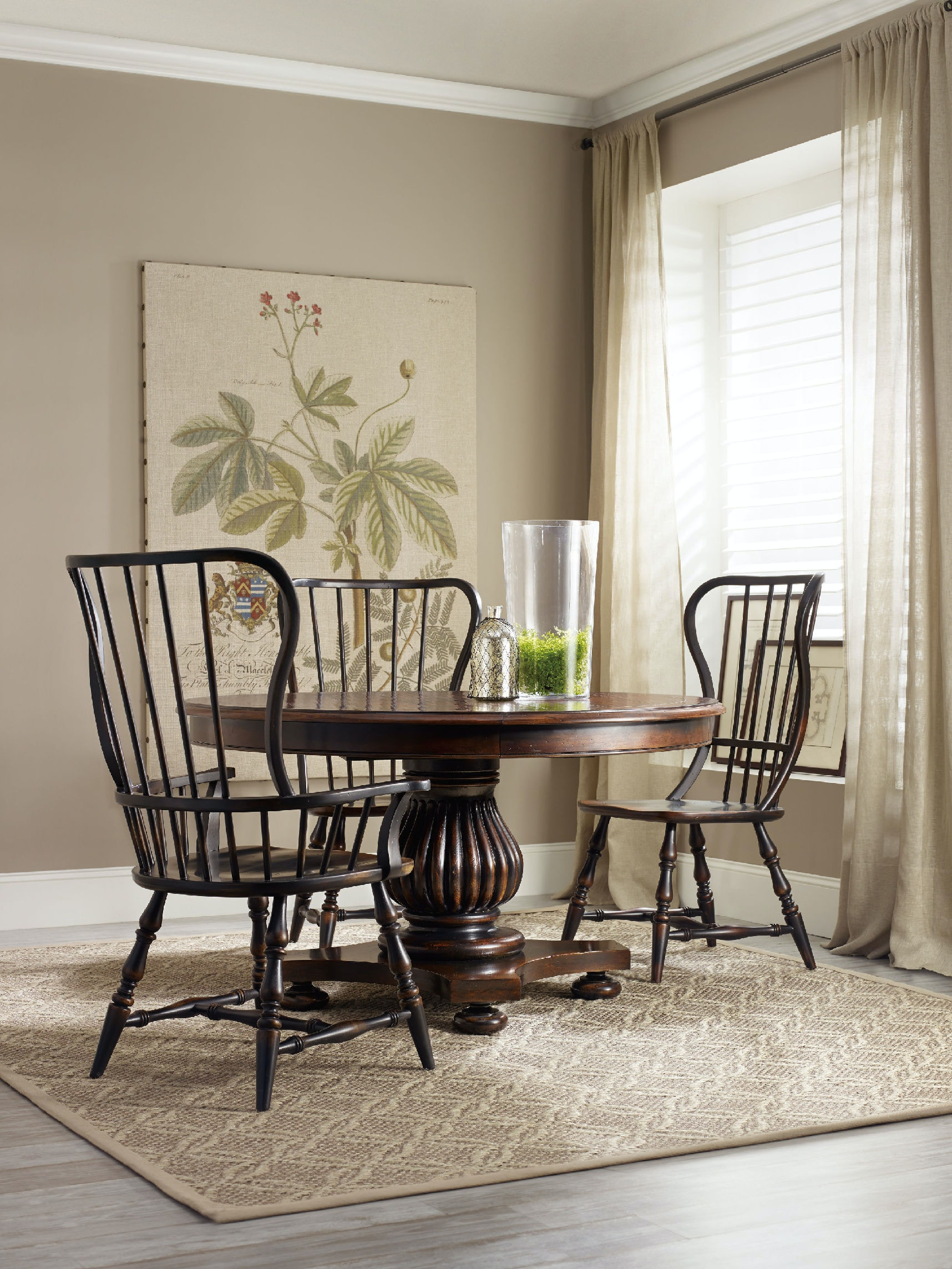 Hooker Furniture Dining Room Sanctuary Spindle Arm Chair Ebony