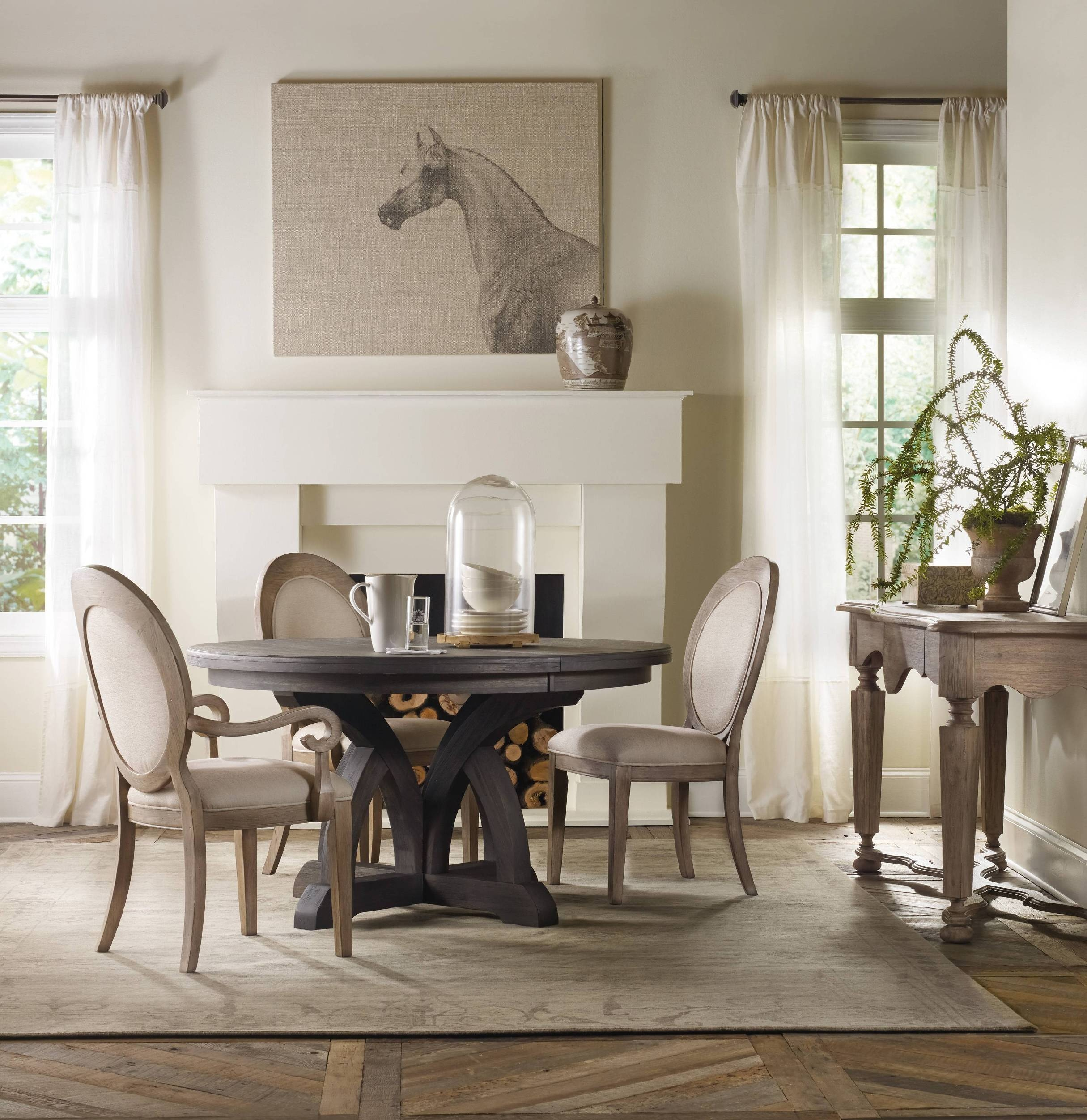 Round dining room sets with leaves - Hooker Furniture Corsica Dark Round Dining Table W 1 18in Leaf 5280 75203