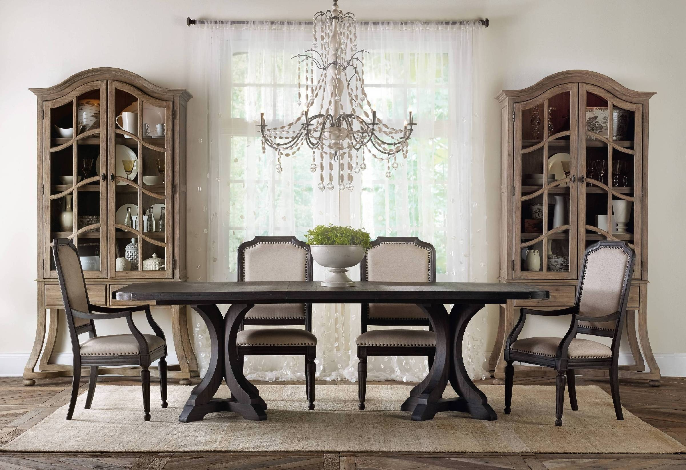 Hooker Furniture Corsica Dark Rectangle Pedestal Dining Table W/2 20in  Leaves 5280