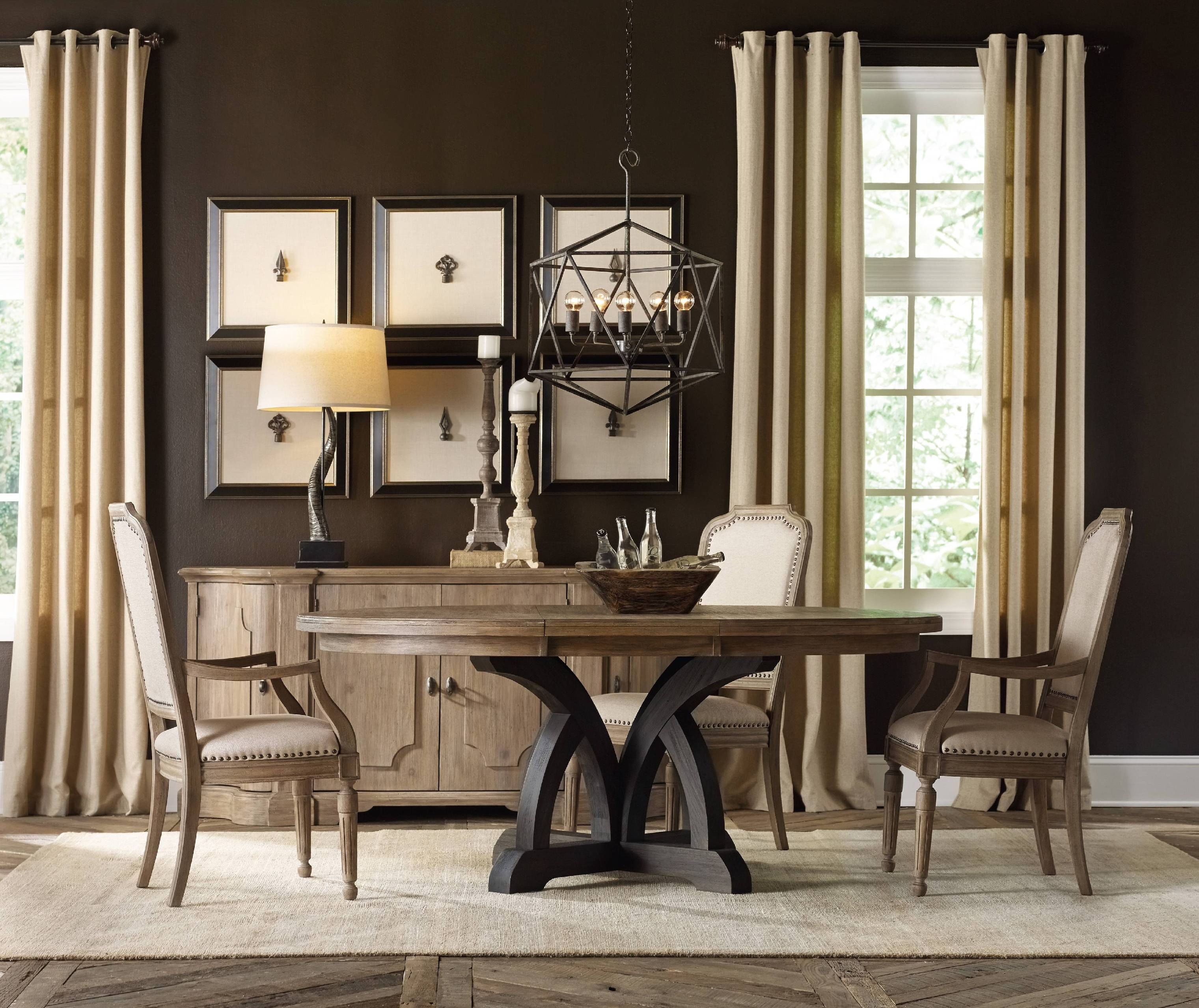 Hooker Furniture Corsica Dark Round Dining Table (Dark Base/Light Top) 5280