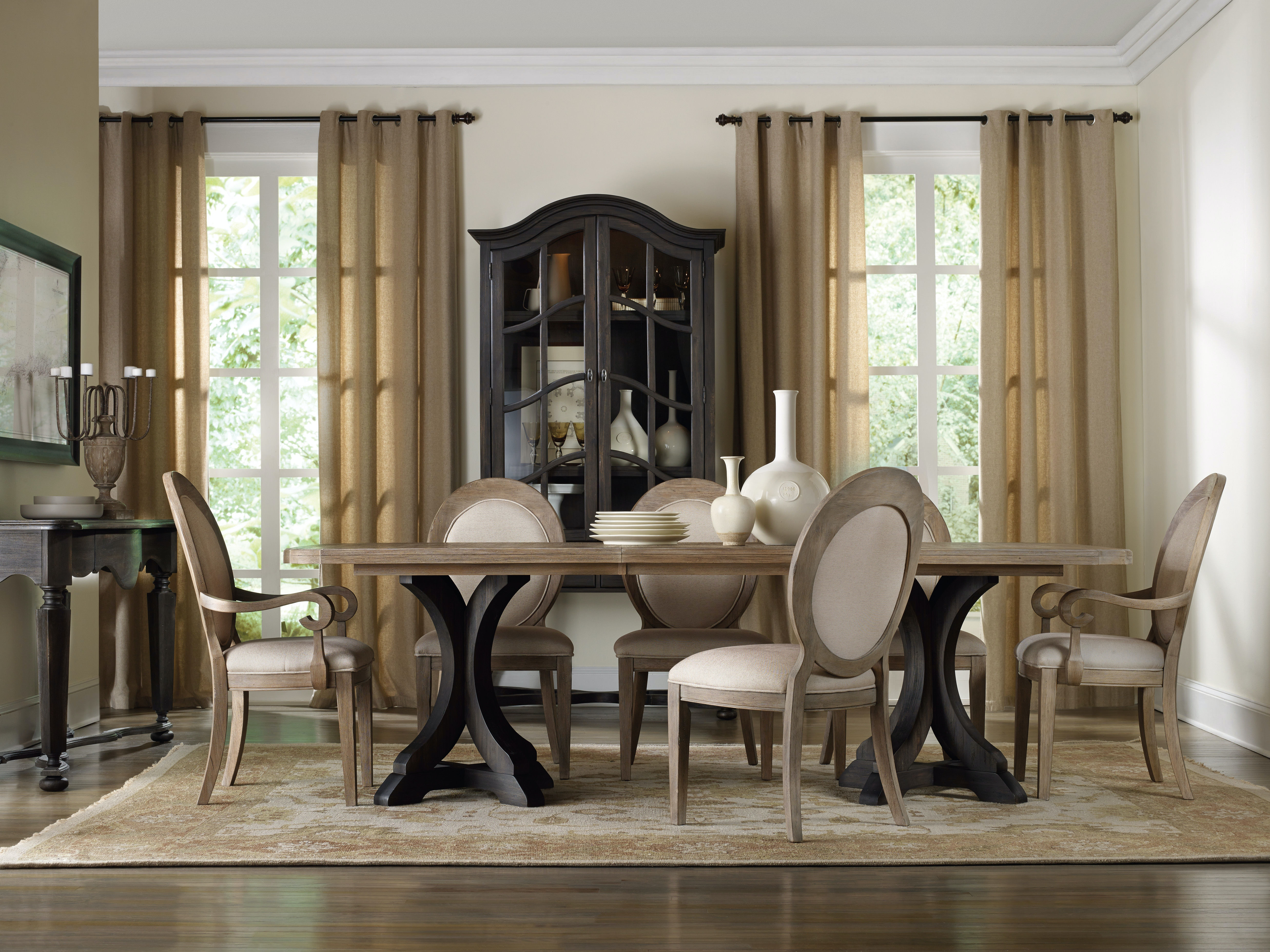 Hooker Furniture Corsica Dark Rectangle Pedestal Dining Table (Dark Base/Light Top) 5280 & Hooker Furniture Dining Room Corsica Dark Rectangle Pedestal Dining ...