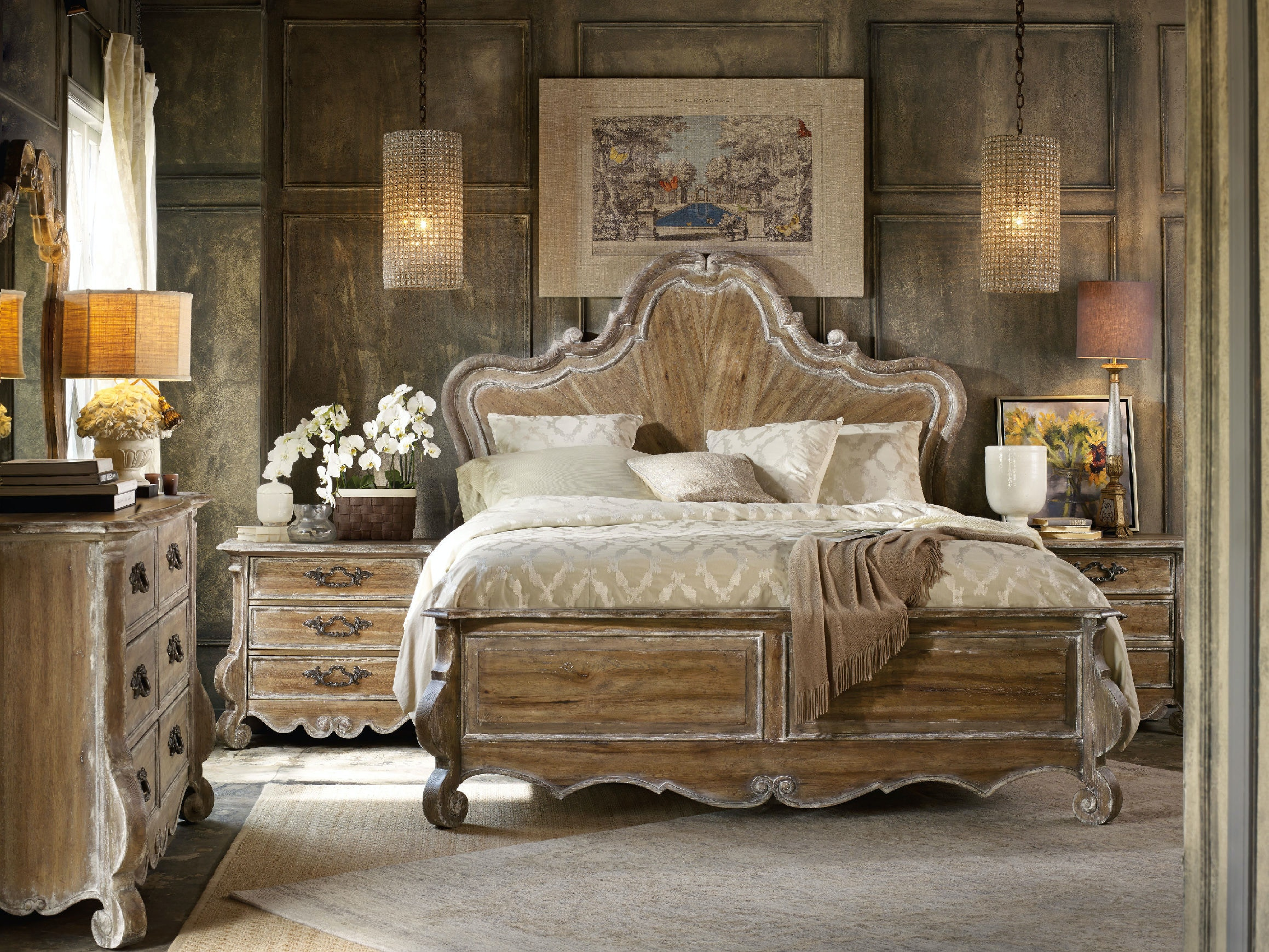 hooker furniture bedroom chatelet king wood panel bed 5300-90266