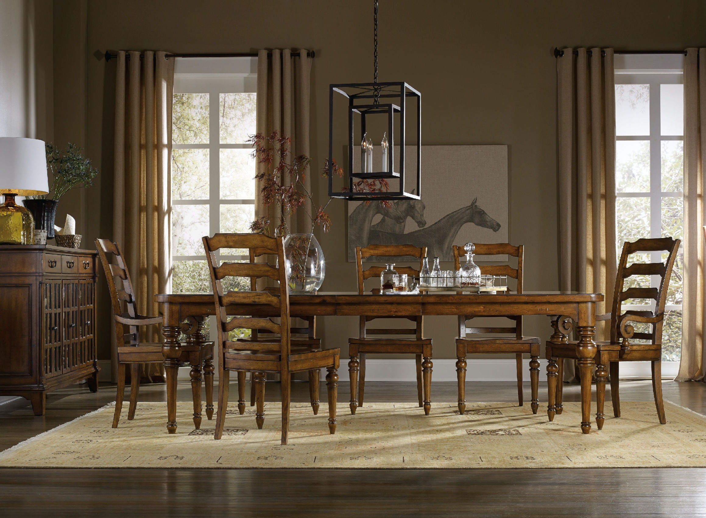 Hooker Furniture Dining Room Tynecastle Rectangle Leg Dining Table ...