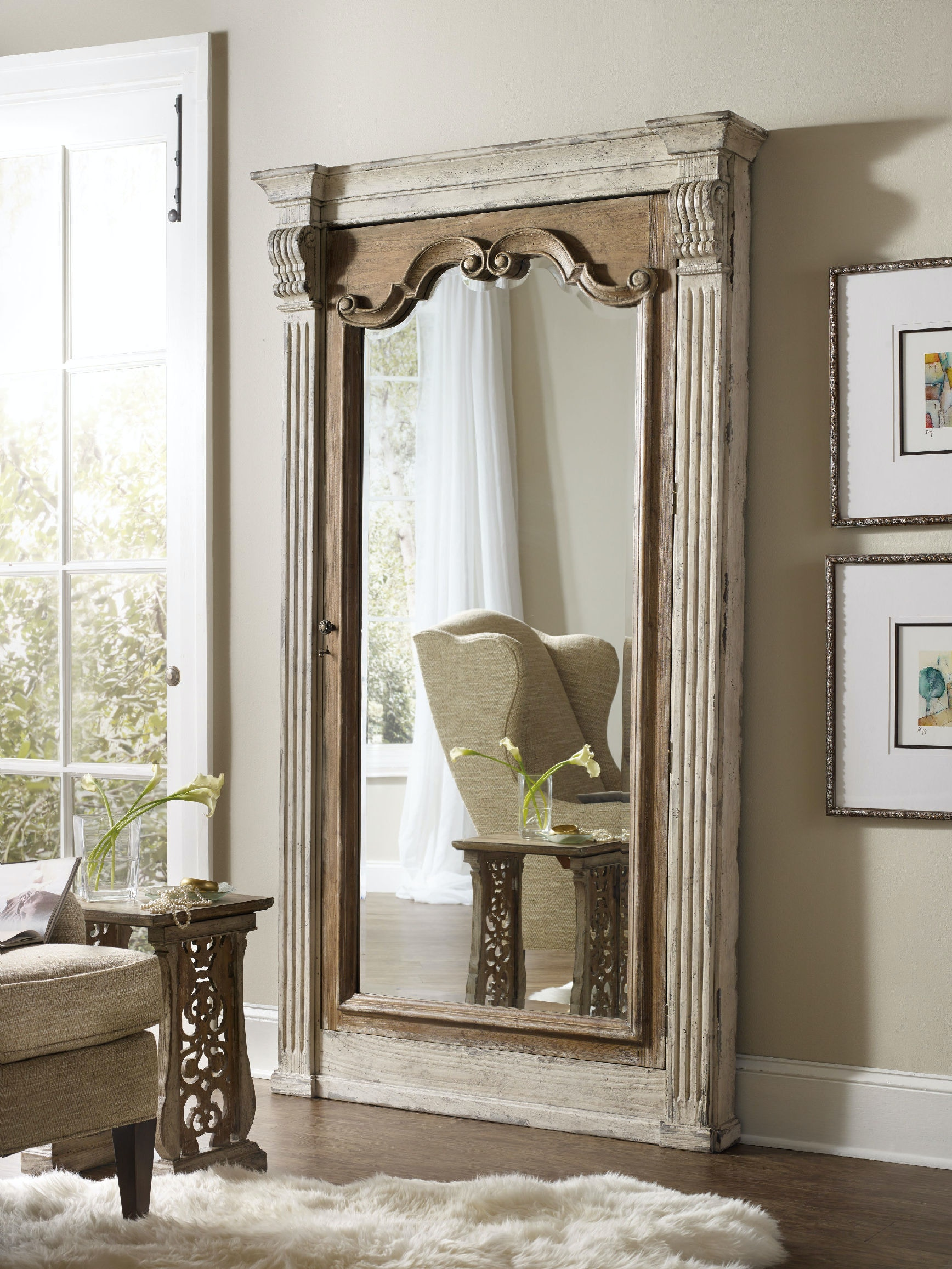 Merveilleux Hooker Furniture Chatelet Floor Mirror W/Jewelry Armoire Storage 5351 50003
