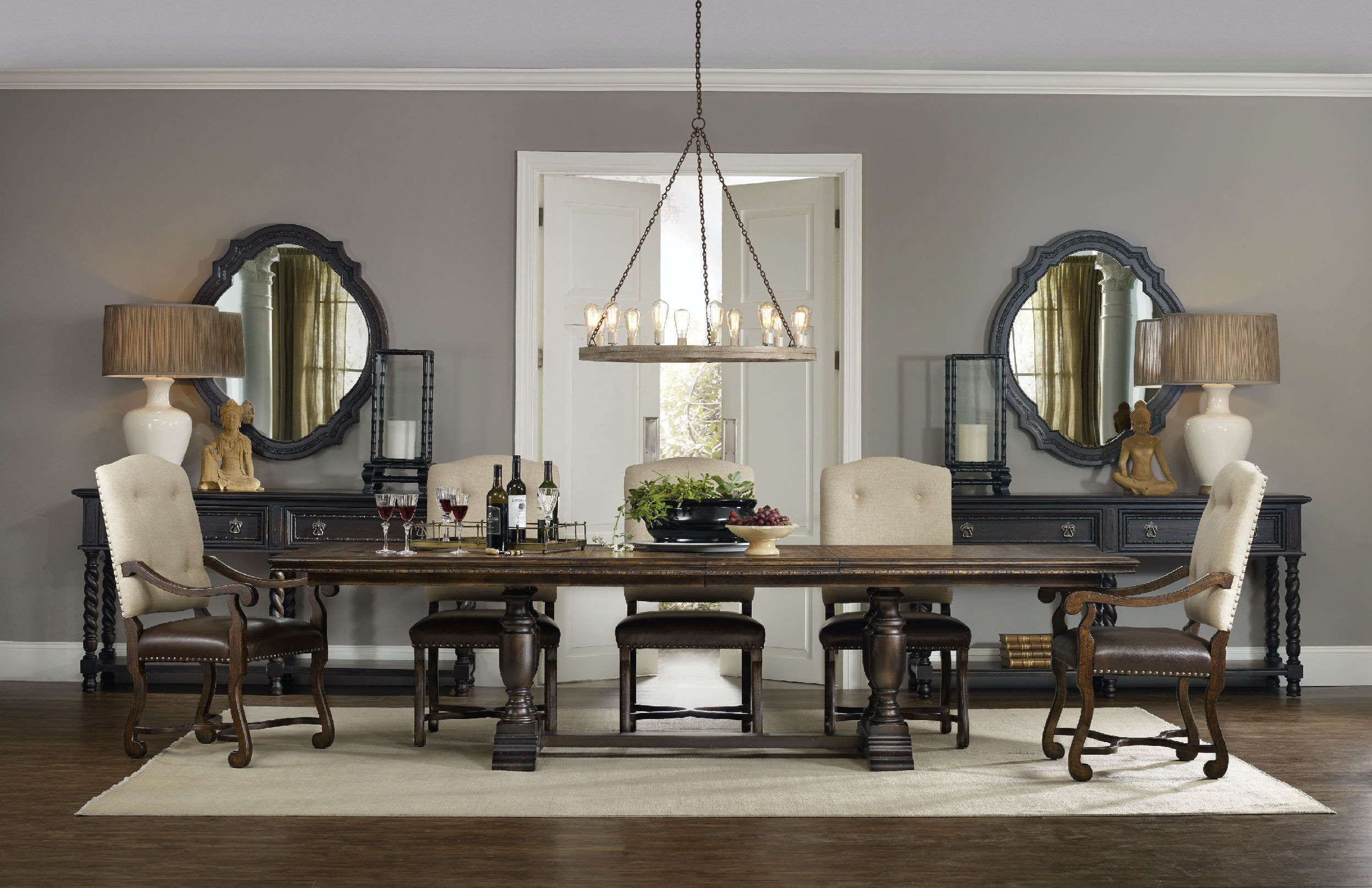 Hooker Furniture Dining Room Treviso Trestle Dining Table With Two - Trestle dining room table