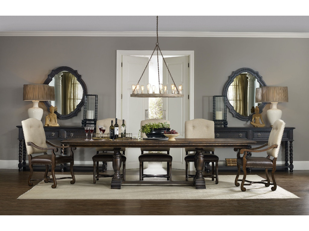 Hooker Furniture Treviso Trestle Dining Table with Two 18\