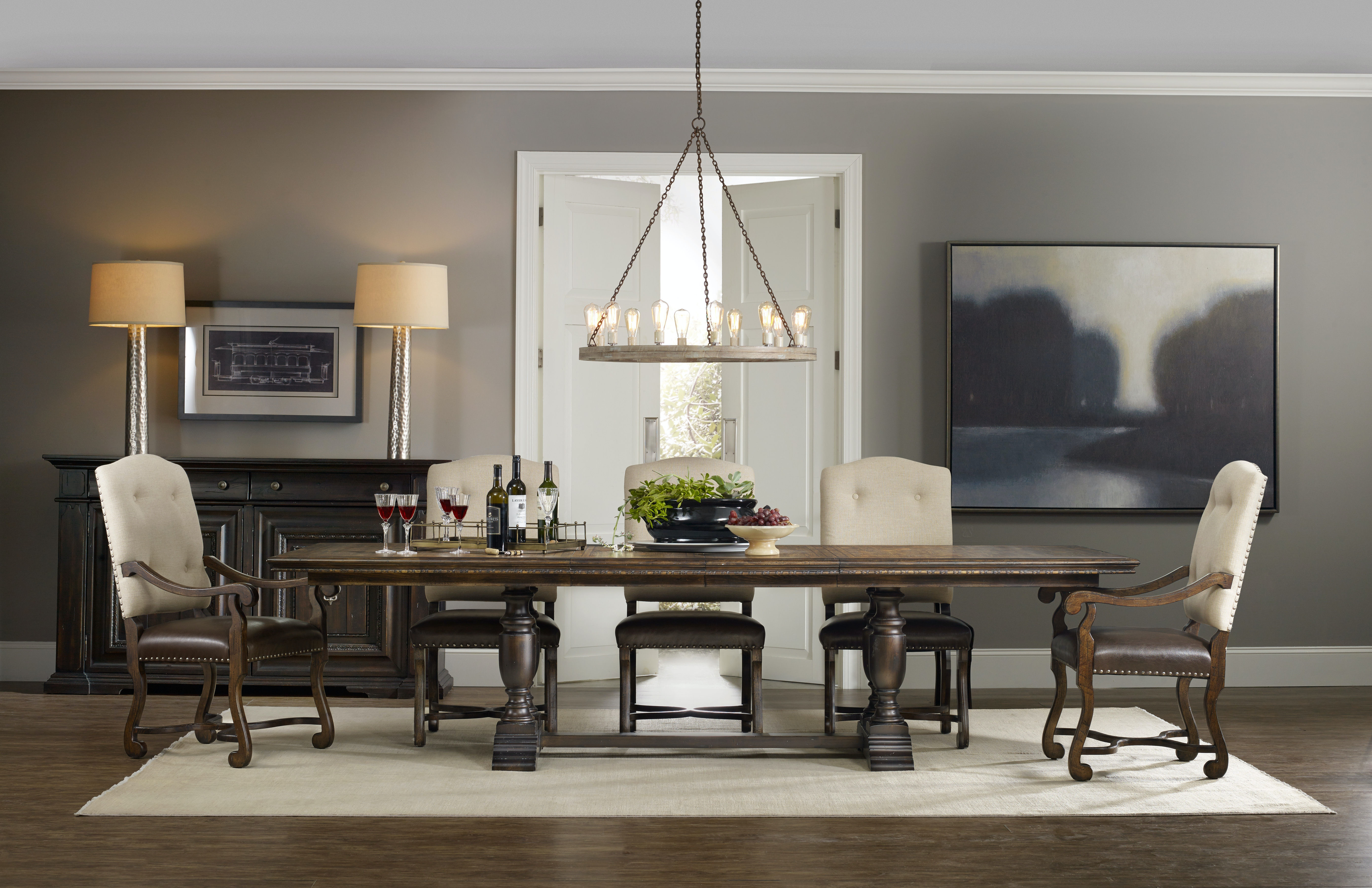 Hooker Furniture Dining Room Treviso Trestle Dining Table with Two