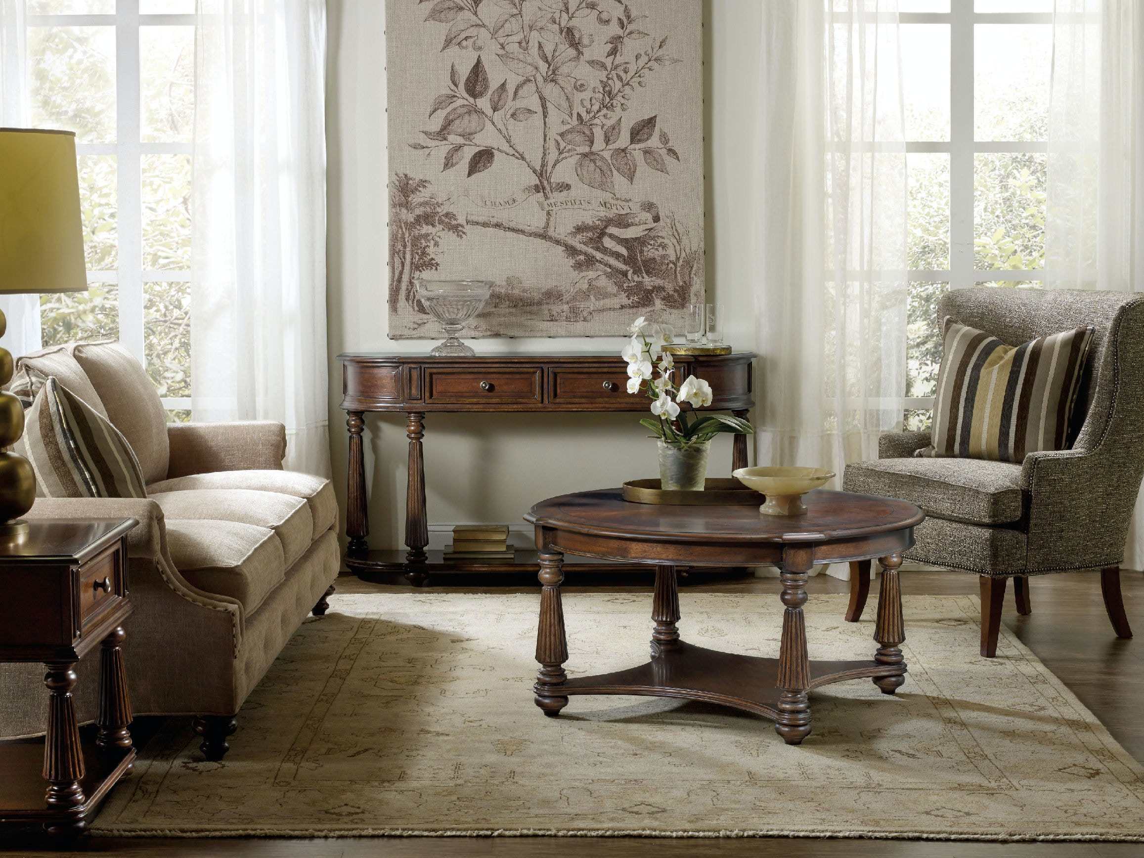 hooker furniture living room leesburg demilune hall console 5381 80151. Black Bedroom Furniture Sets. Home Design Ideas