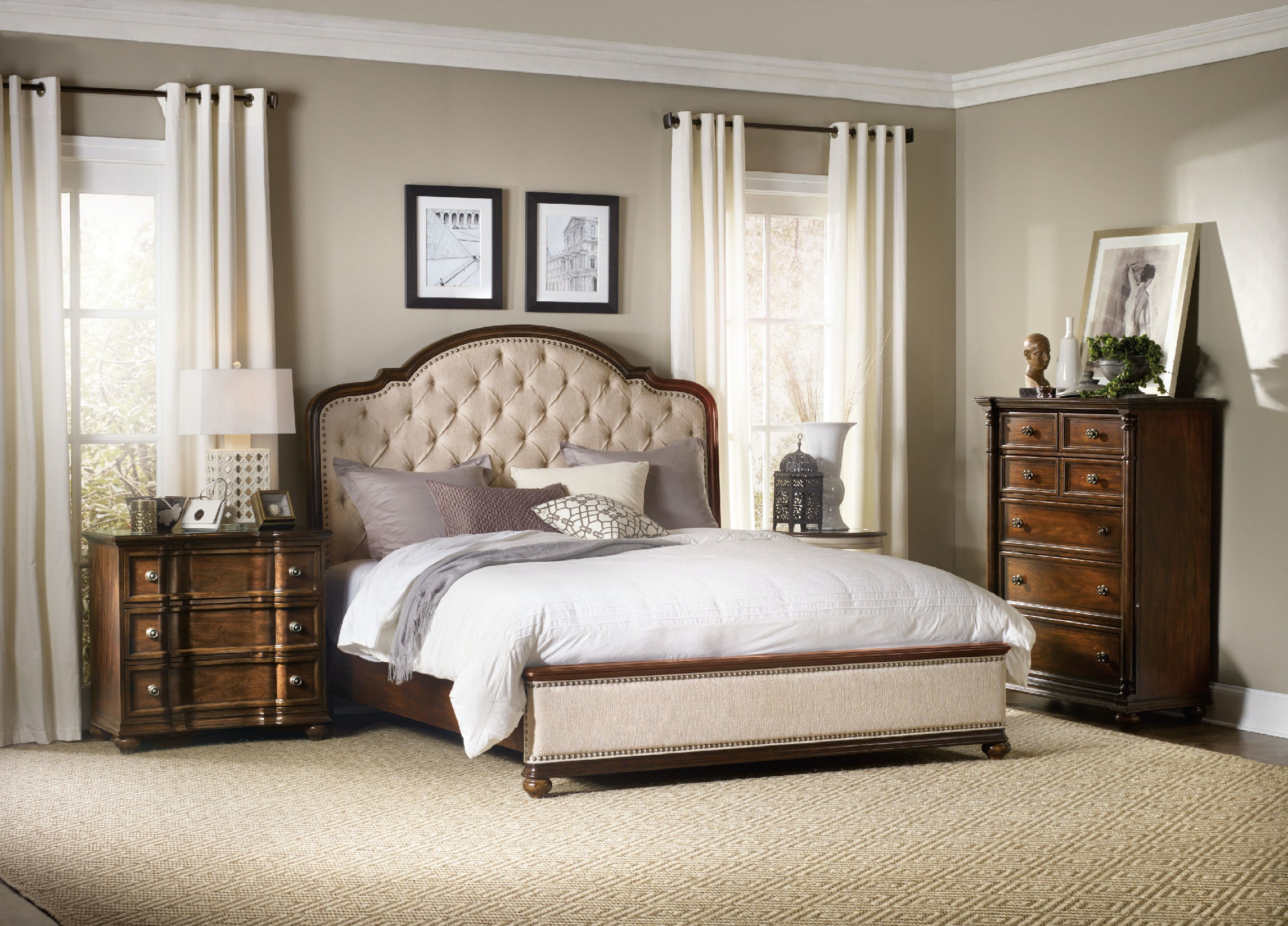 Hooker Furniture Leesburg Queen Upholstered Bed With Wood Rails 5381 90950