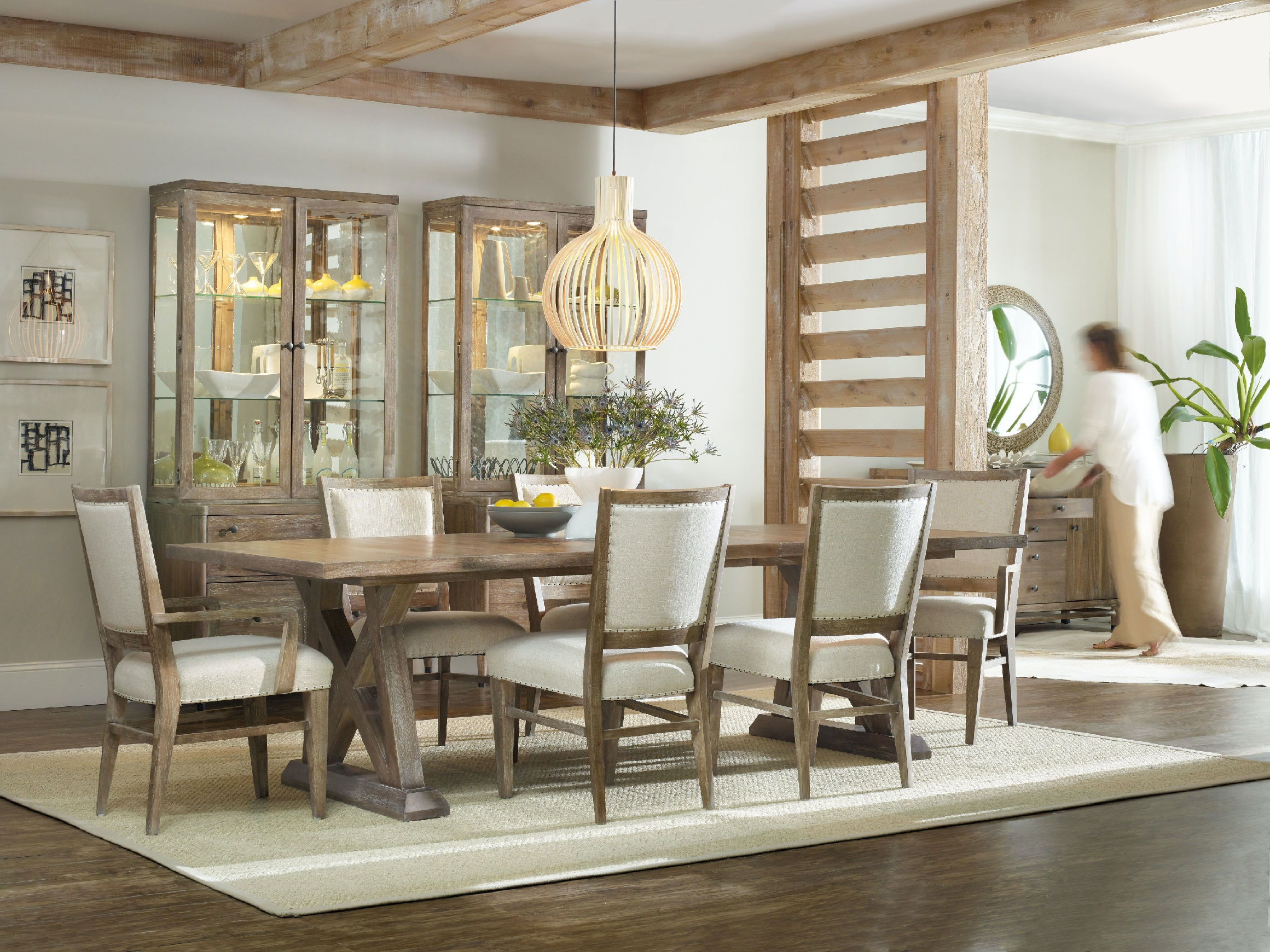 hooker furniture dining room studio 7h geo trestle dining table