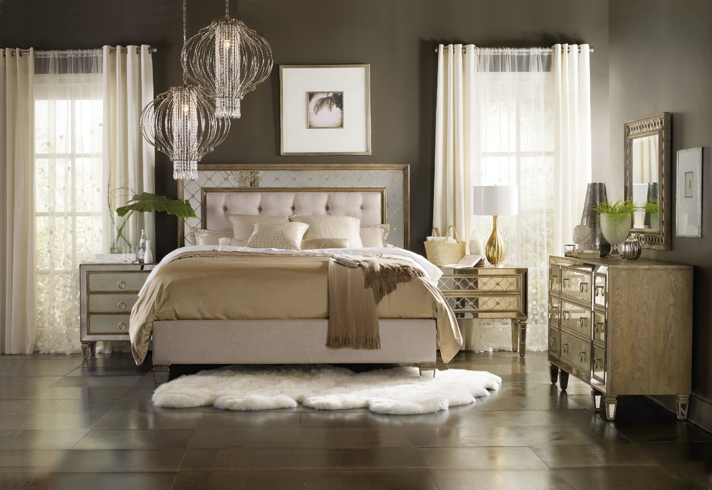 Superior Hooker Furniture Sanctuary King Mirrored Upholstered Bed 5414 90866